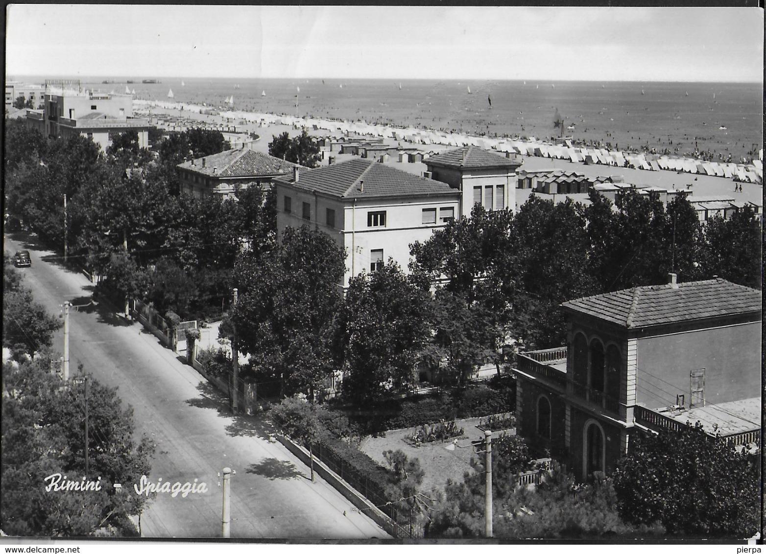EMILIA ROMAGNA - RIMINI  - LA SPIAGGIA  - VIAGGIATA 1954 FRANCOBOLLO ASPORTATO - Rimini