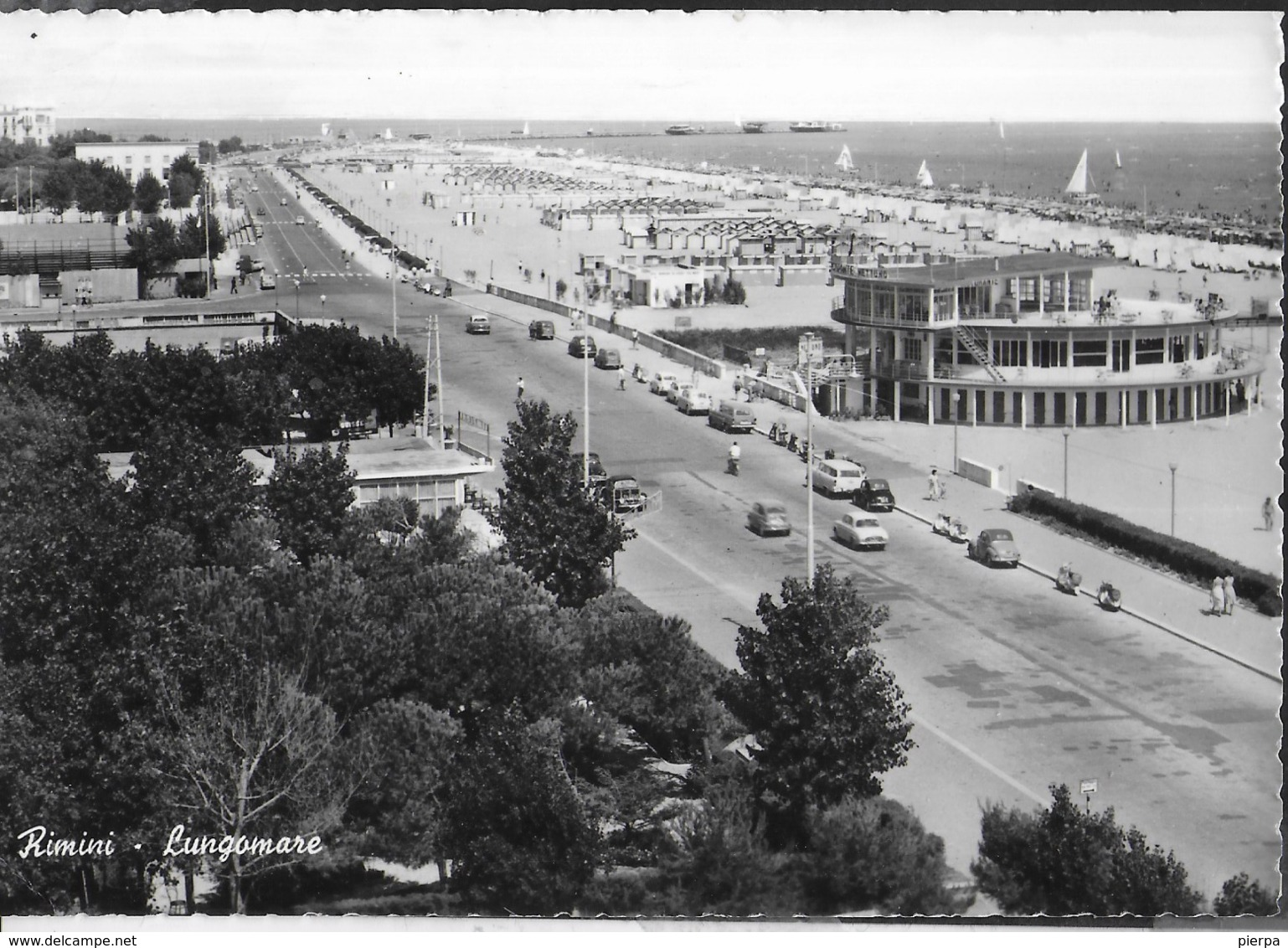 EMILIA ROMAGNA - RIMINI  - LUNGOMARE - VIAGGIATA 1962 FRANCOBOLLO ASPORTATO - Rimini