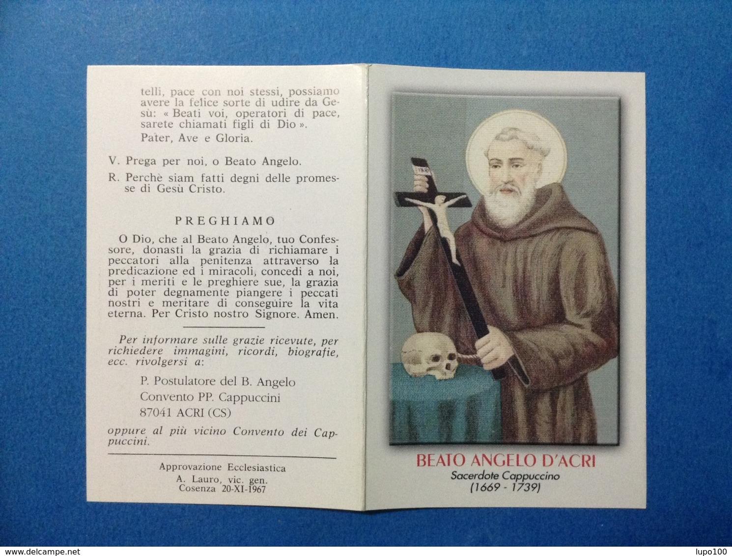 Santino Holy Card Image Pieuse BEATO ANGELO D'ACRI SACERDOTE CAPPUCCINO - Santini