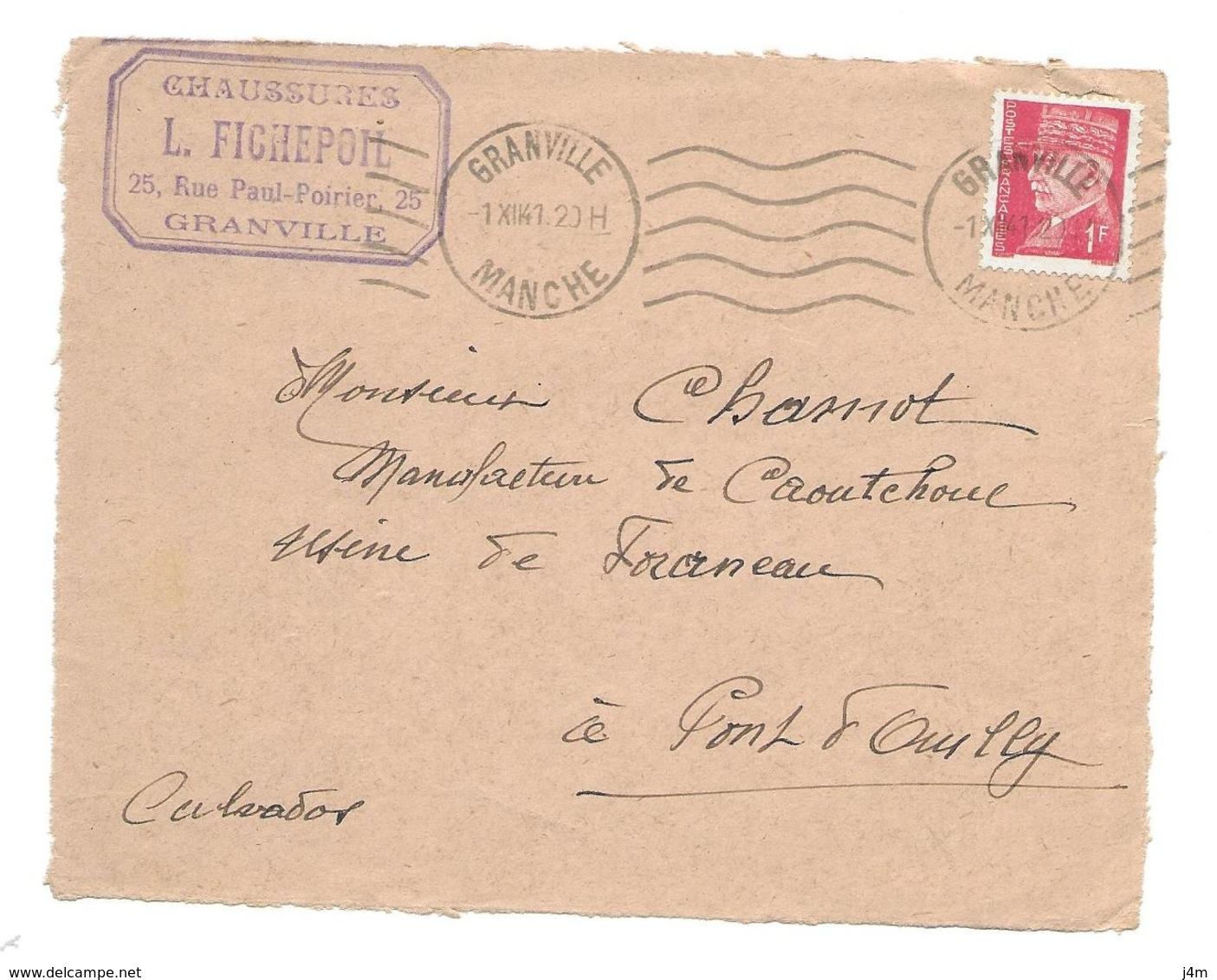 DOCUMENT Commercial ENVELOPPE 1941..Chaussures, L. FICHEPOIL Rue Paul Poirier à GRANVILLE (Manche 50)...Recto Seul - France