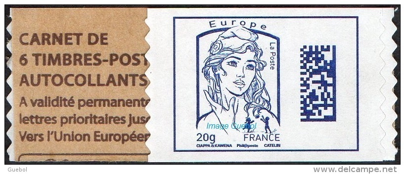 France Marianne De Ciappa Et Kawena Autoadhésif N° 1176.A ** Datamatrix Europe De Carnet - 2013-... Marianne (Ciappa-Kawena)