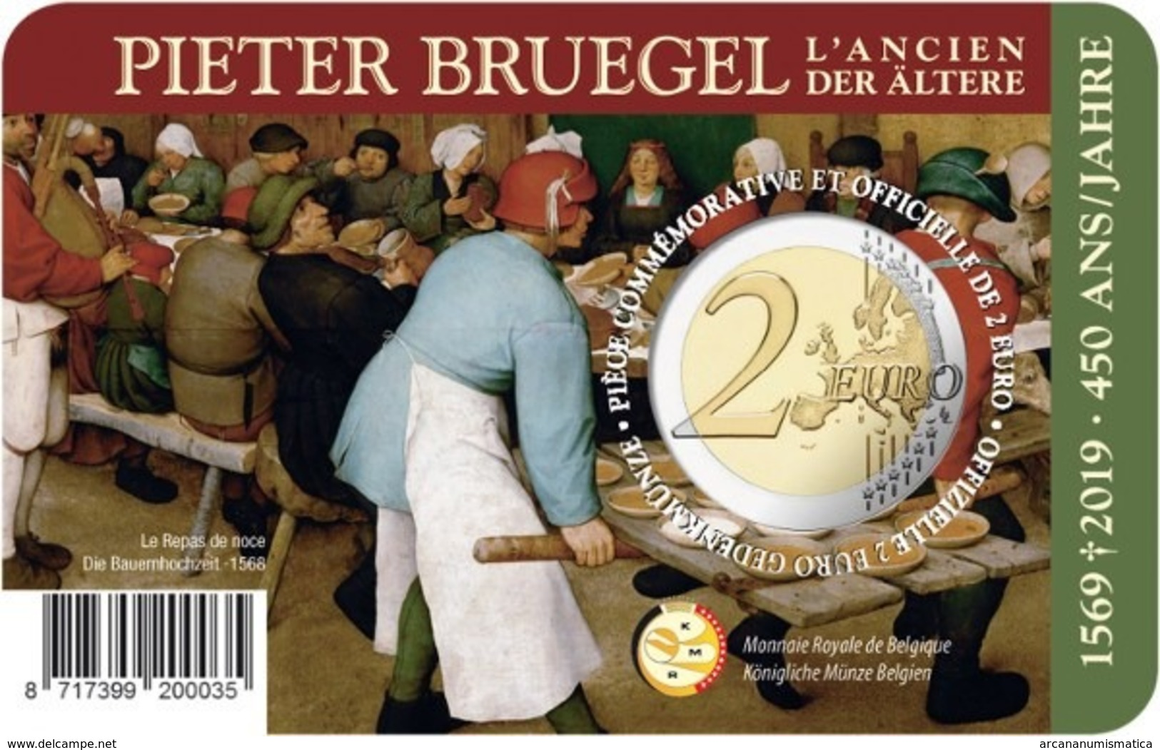 "BELGICA  2€ 2.019  2019  BIMETALICA ""PIETER BRUEGEL""  SC/UNC    T-DL-12.309 - Bélgica"