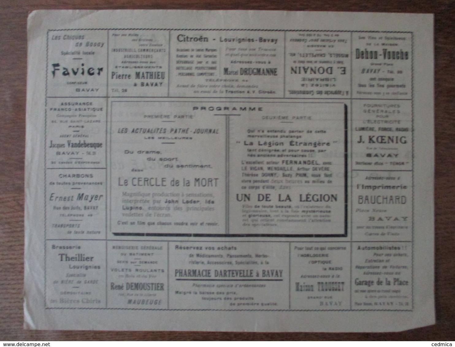 BAVAY CINEMA REXY 15,16,17 MAI 1937 LE CERCLE DE LA MORT ET UN DE LA LEGION LE PLUS GRAND SUCCES DE FERNANDEL - Programme