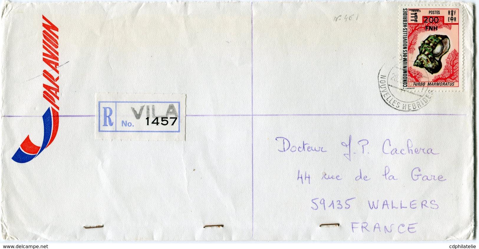 NOUVELLES-HEBRIDES LETTRE RECOMMANDEE PAR AVION DEPART PORT-VILA 28-3-78 NOUVELLES-HEBRIDES POUR LA FRANCE - Légende Française
