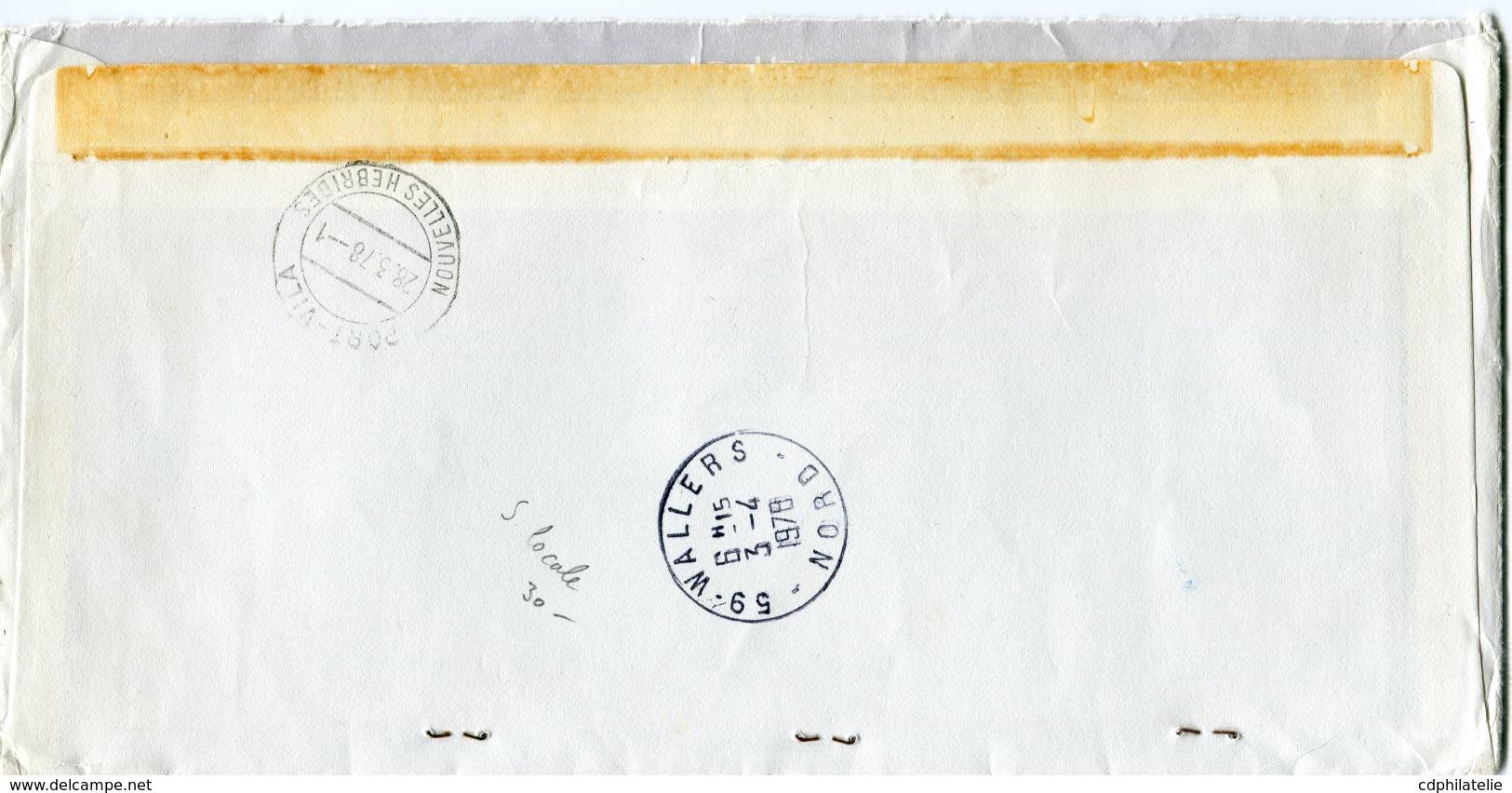 NOUVELLES-HEBRIDES LETTRE RECOMMANDEE PAR AVION DEPART PORT-VILA 28-3-78 NOUVELLES-HEBRIDES POUR LA FRANCE - Briefe U. Dokumente