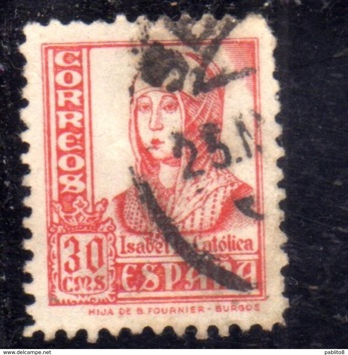 SPAIN ESPAÑA SPAGNA 1936 1940 ISABELLA I QUEEN REGINA CENT. 30c USED USATO OBLITERE' - 1931-Aujourd'hui: II. République - ....Juan Carlos I