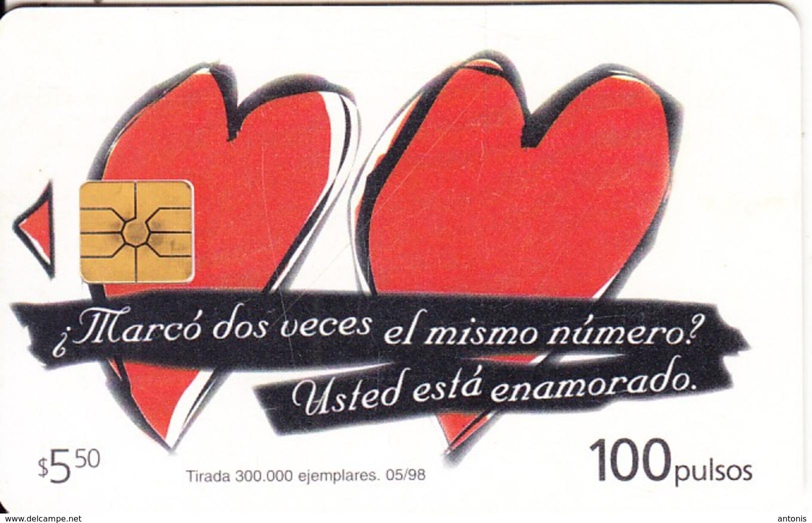 ARGENTINA - Hearts, Telecom Argentina Telecard, Chip GEM1, 05/98, Used - Argentinien