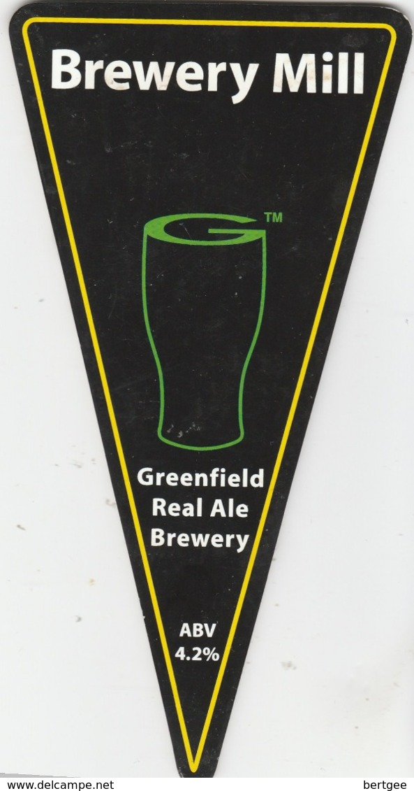 GREENFIELD REAL ALE BREWERY (SADDLEWORTH, ENGLAND) - BREWERY MILL - PUMP CLIP FRONT - Uithangborden