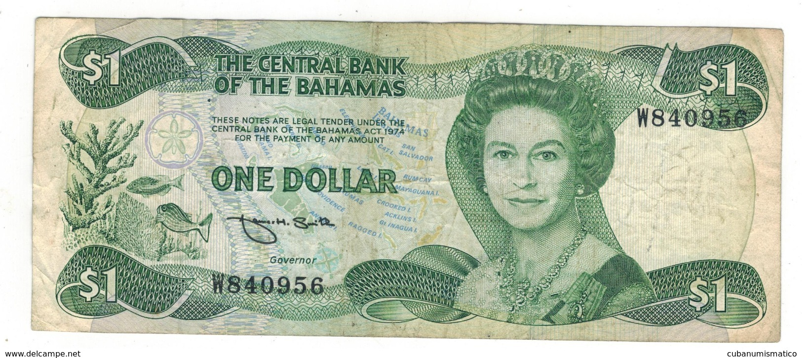 Bahamas 1 Dollar , L.1974.  P-43b, F+. - Bahama's