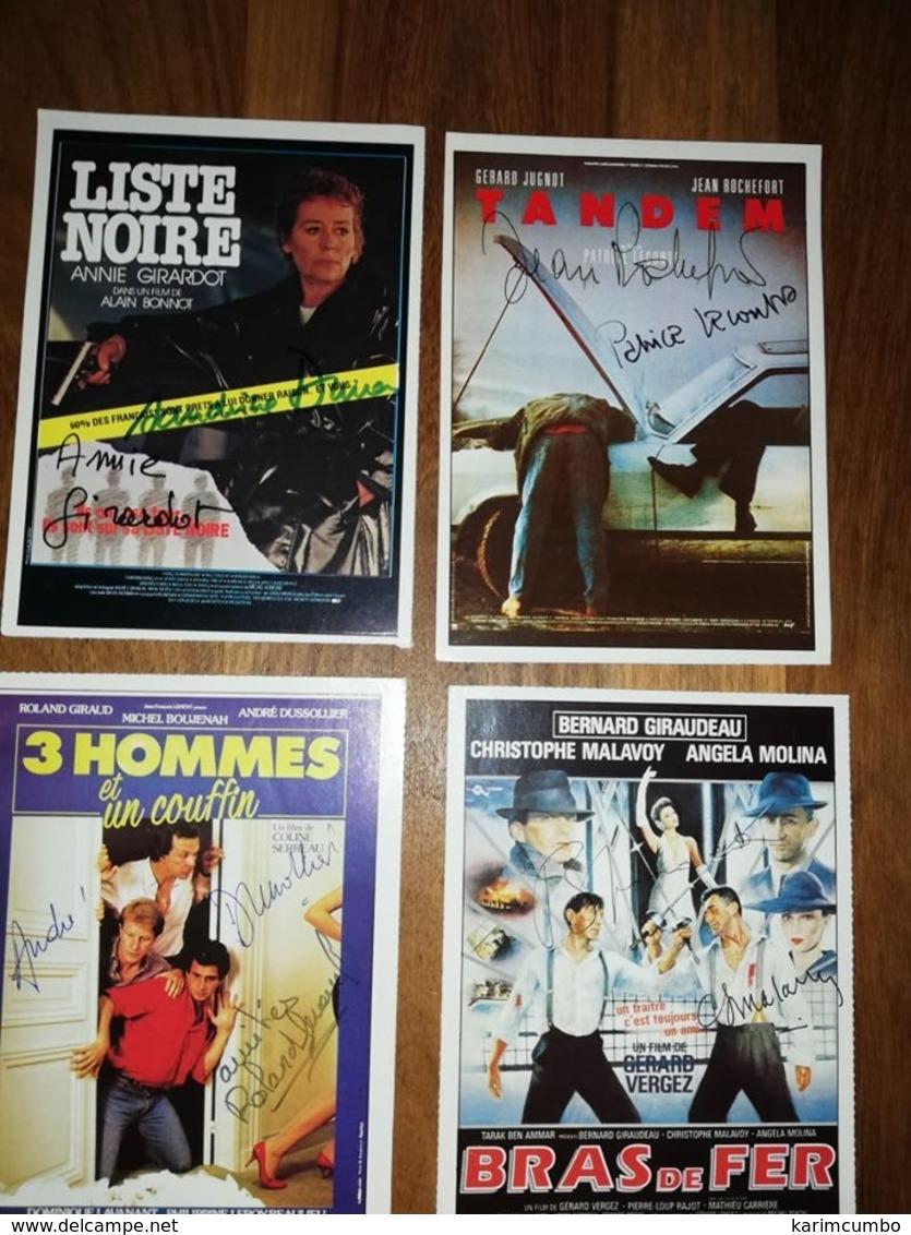 4 Fiches Ciné Avec Nombreux Autographes (8) NO COPY - Autógrafos