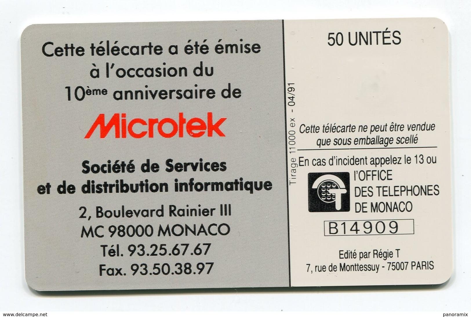 Telecarte °_ Monaco-3-Microteck-10 Ans-gem-04.91- R/V 4909 - Monaco
