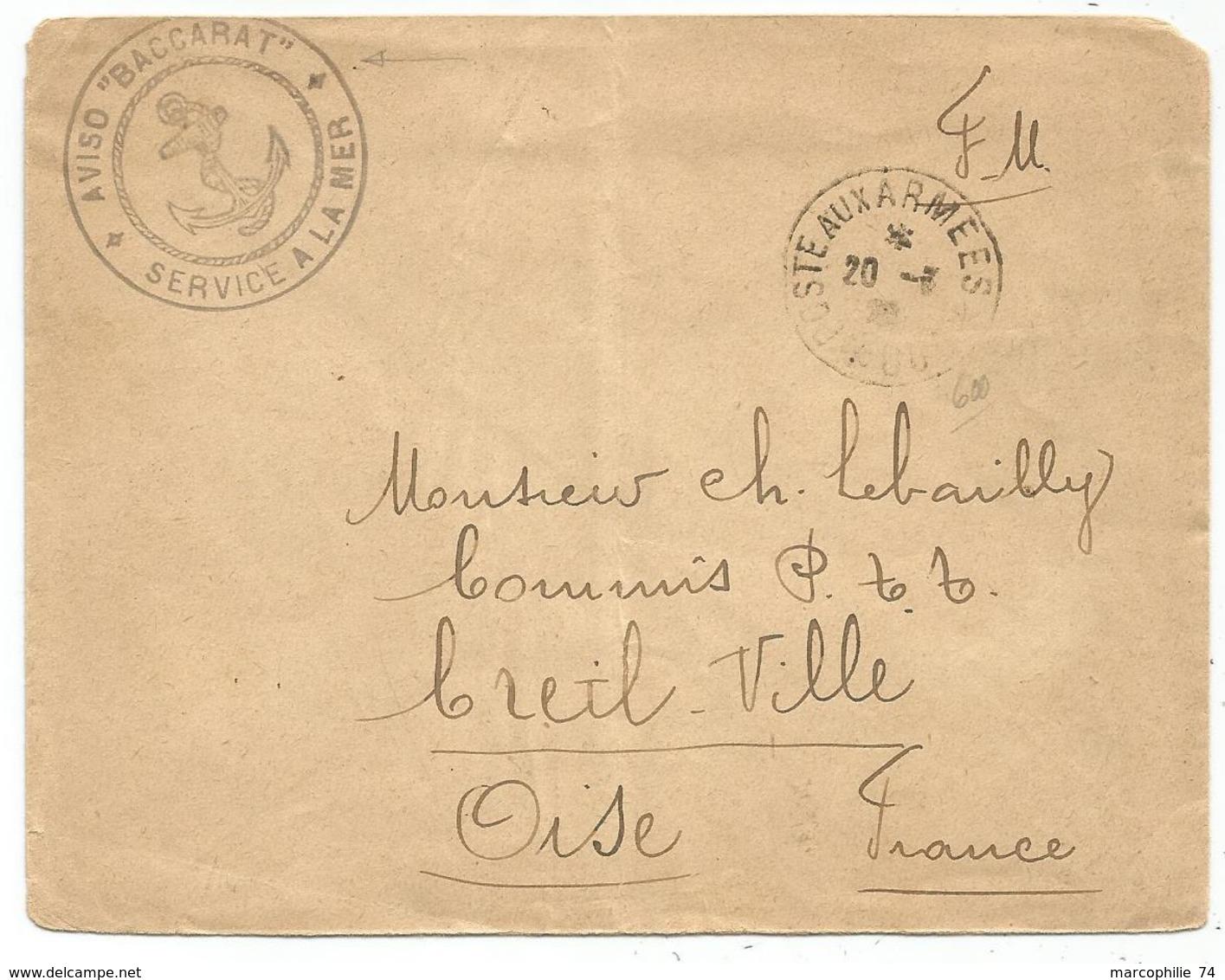 LETTRE POSTE AUX ARMEES 600 20.3.1928 + AVISO BACCARAT SERVICE DE LA MER - Storia Postale