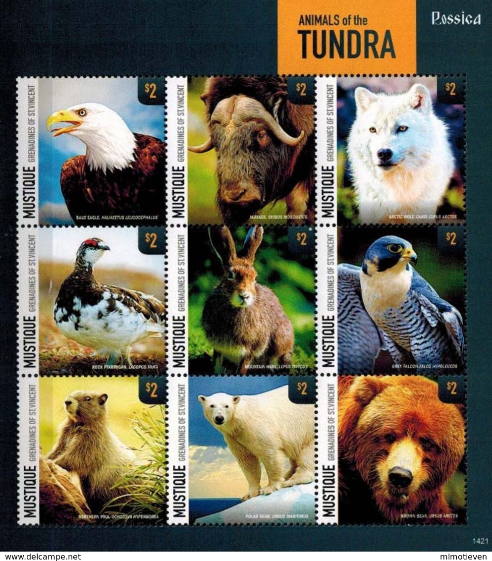 MDA-BK26-174 MDB MINT ¤ GRENADINES Of ST VINCENT 2014 9w In Serie ¤ OISEAUX - MAMMALS BIRDS - ANIMALS Of The TUNDRA - Sellos