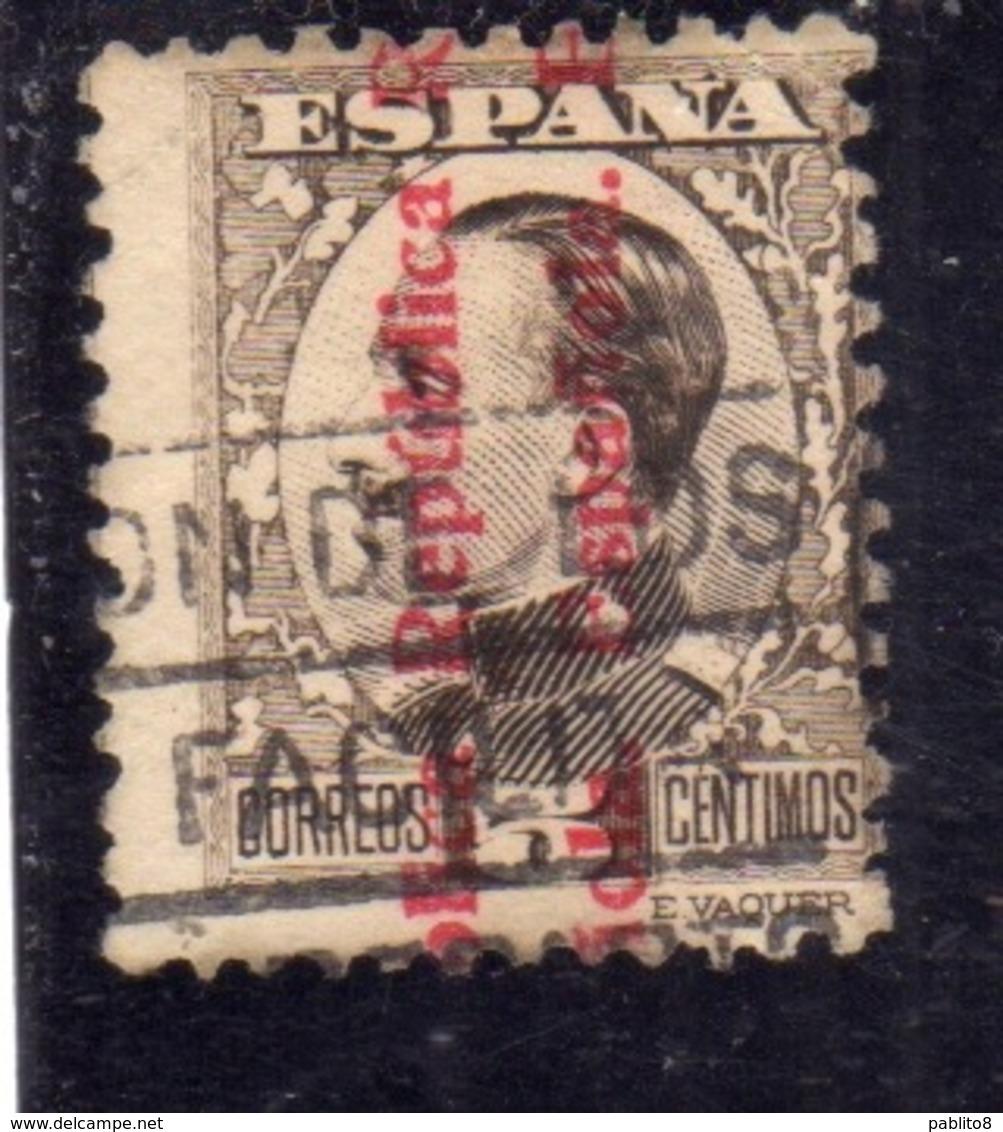 SPAIN ESPAÑA SPAGNA 1931 KING ALFONSO XIII (1930) REPUBLICA ESPANOLA OVERPRINTED CENT. 5c USED USATO OBLITERE' - 1931-Aujourd'hui: II. République - ....Juan Carlos I