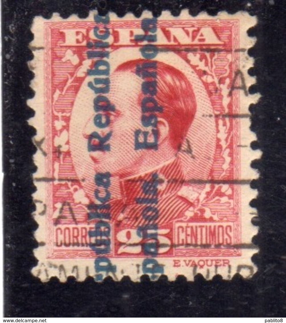 SPAIN ESPAÑA SPAGNA 1931 KING ALFONSO XIII (1930) REPUBLICA ESPANOLA OVERPRINTED CENT. 25c USED USATO OBLITERE' - 1931-Aujourd'hui: II. République - ....Juan Carlos I