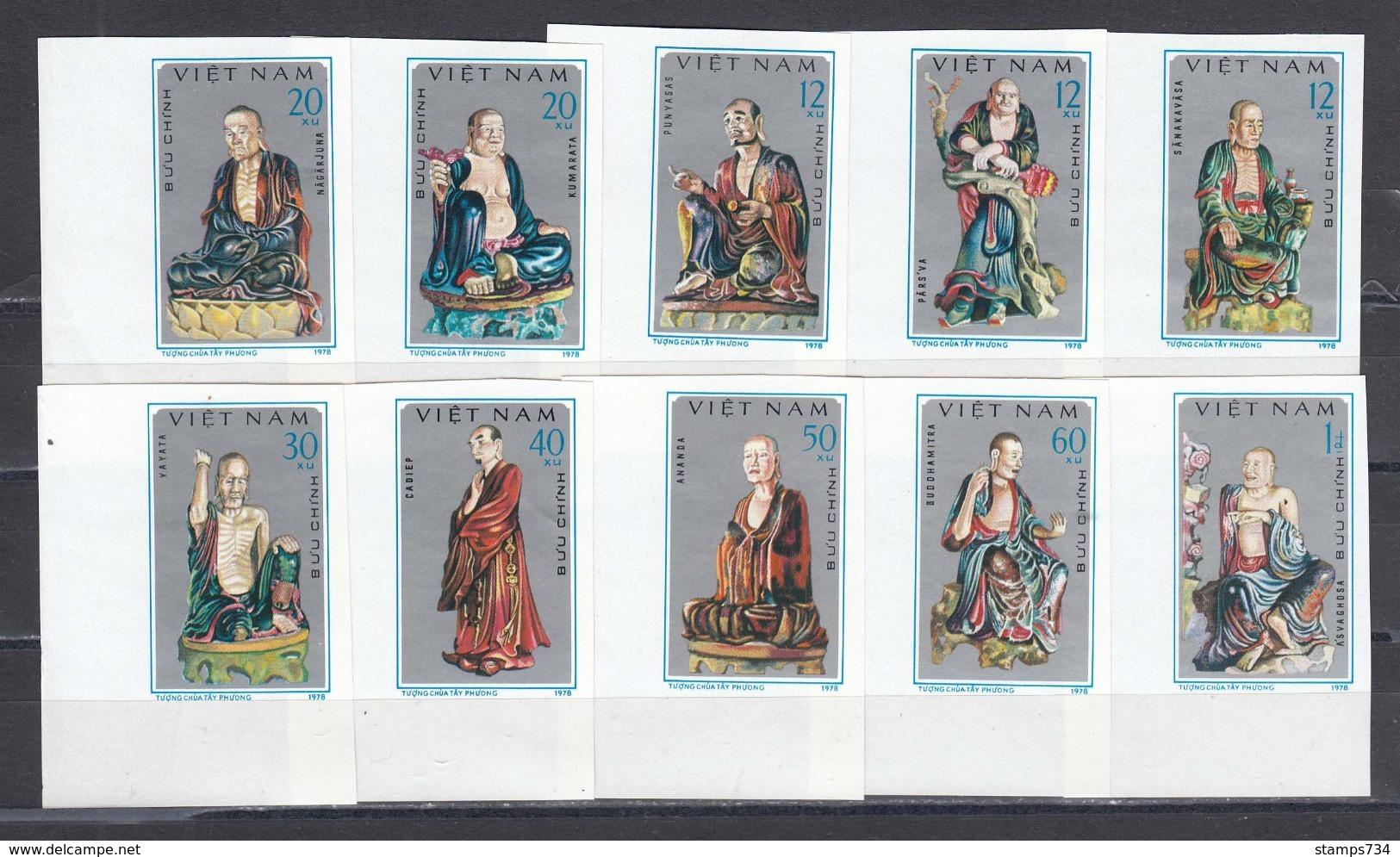 Vietnam 1978 - Sculptures Of The Tay Phuong Pagoda, Mi-Nr. 974/83, Imperf., MNH** - Vietnam