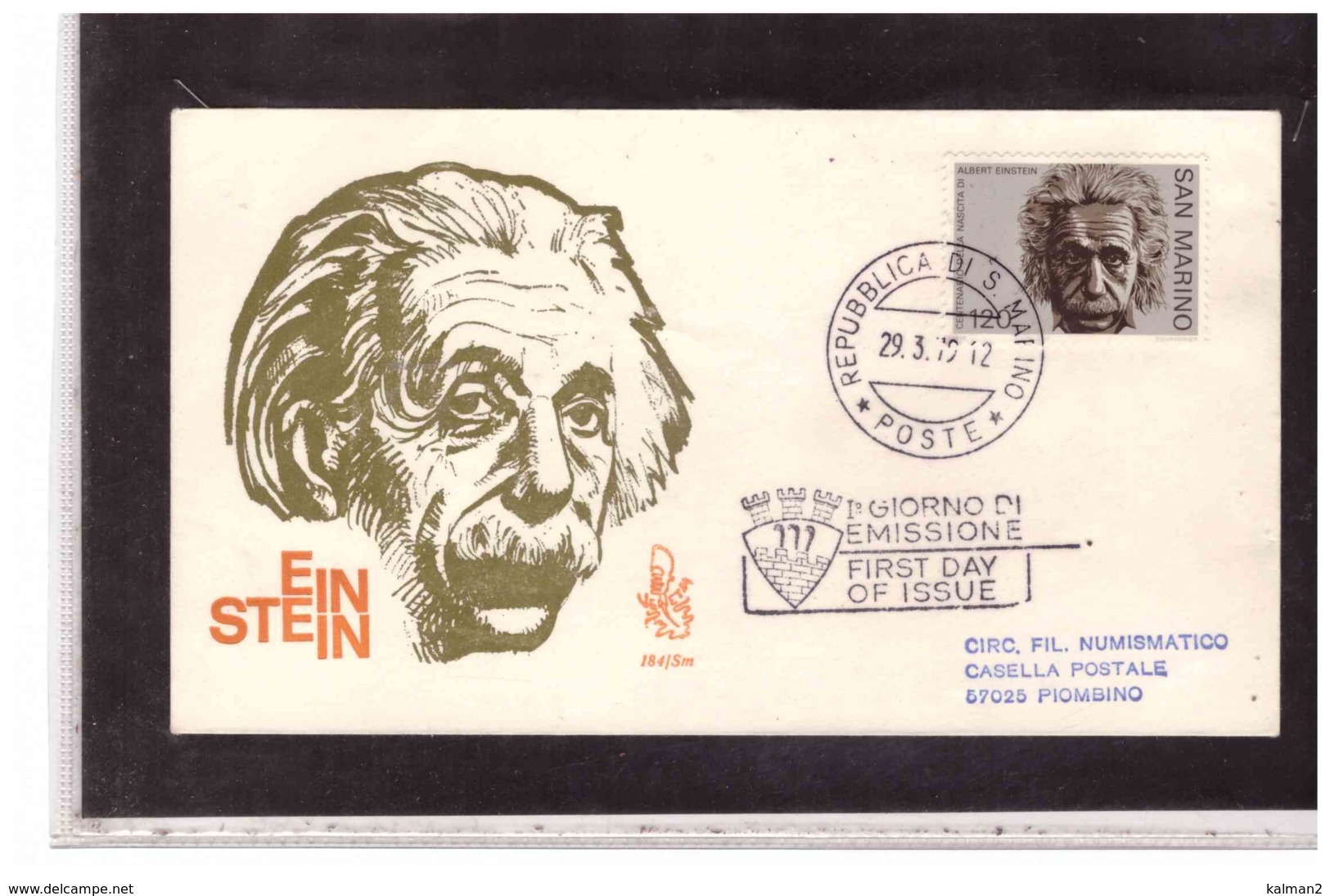 FDC5395   -   SAN MARINO 29.3.1979    /   FDC  100° ANN. NASCITA ALBERT EINSTEIN  -  CAT.UNIFICATO  1016 - Celebrità