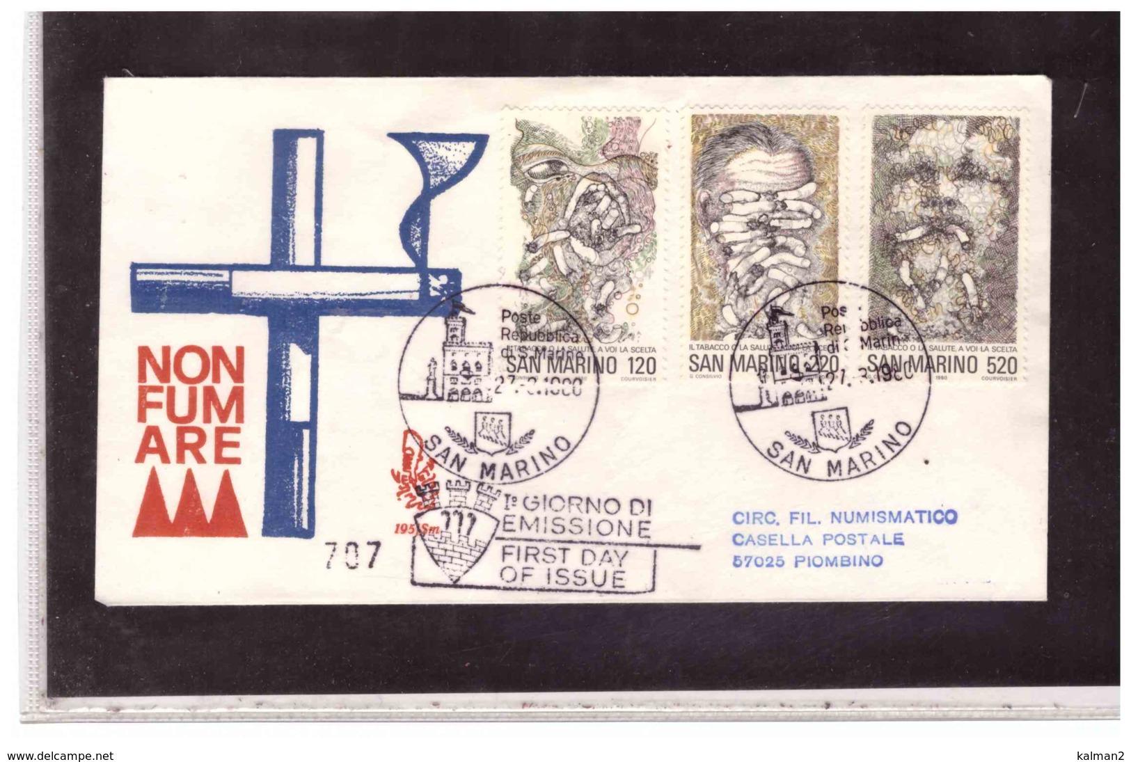 FDC5407   -   SAN MARINO 27.3.1980   /   FDC  GIORNATA MONDIALE DELLA SANITA' -  CAT.UNIFICATO  1050/52 - Salute