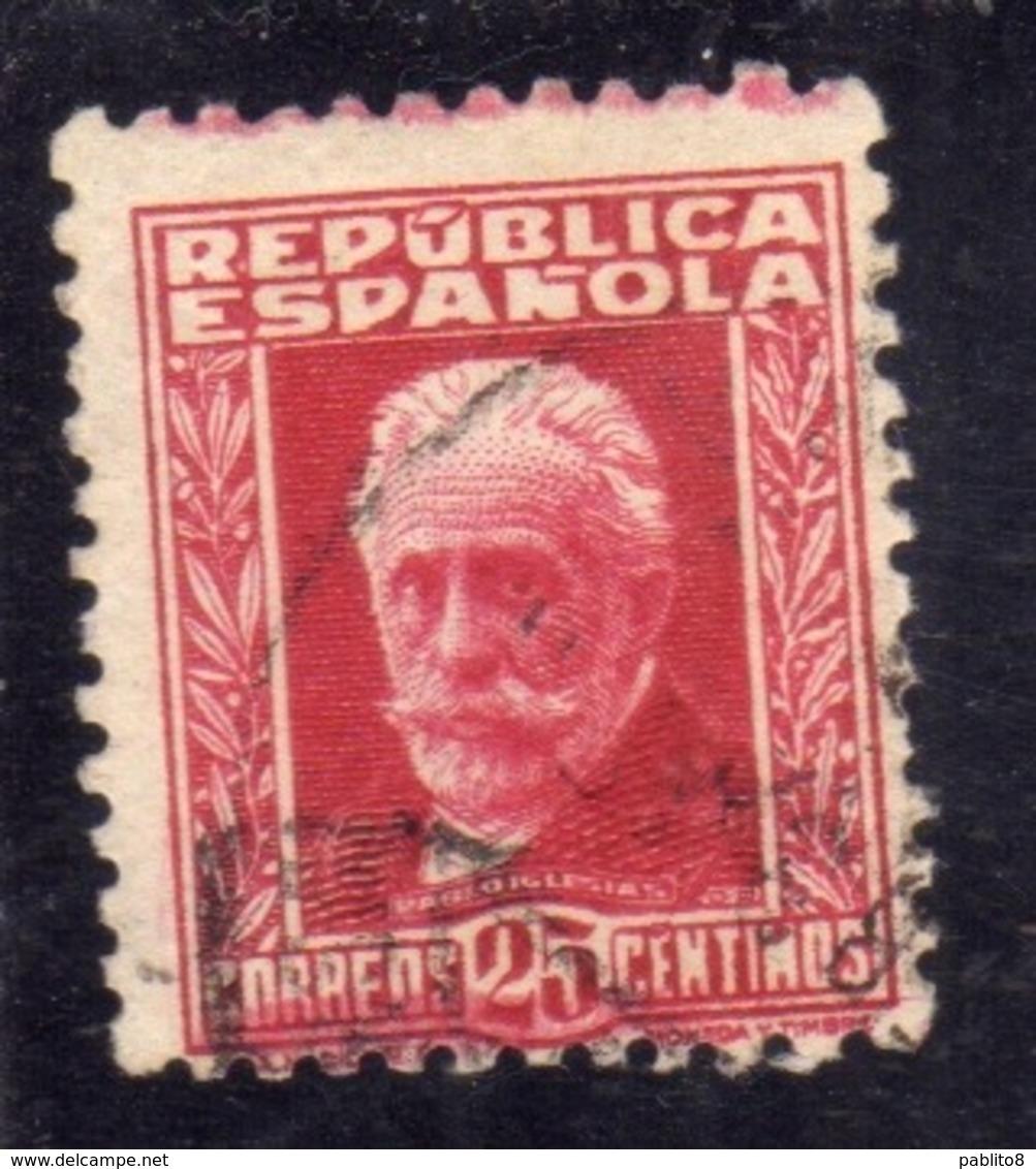 SPAIN ESPAÑA SPAGNA 1931 1932 PABLO IGLESIAS CENT. 25c USED USATO OBLITERE' - 1931-Tegenwoordig: 2de Rep. - ...Juan Carlos I