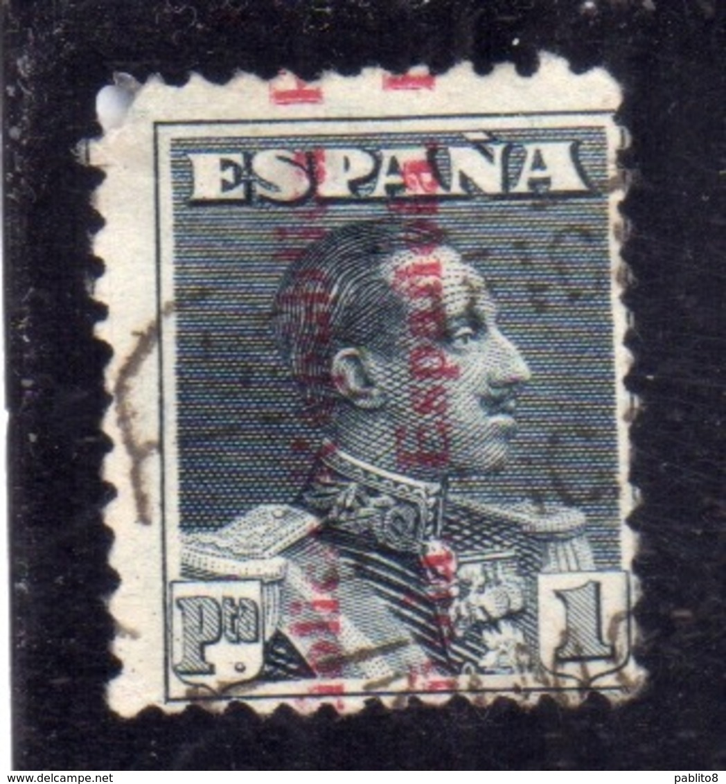 SPAIN ESPAÑA SPAGNA 1931 KING ALFONSO XIII (1930) REPUBLICA ESPANOLA OVERPRINTED PESETA 1p USED USATO OBLITERE' - 1931-Aujourd'hui: II. République - ....Juan Carlos I