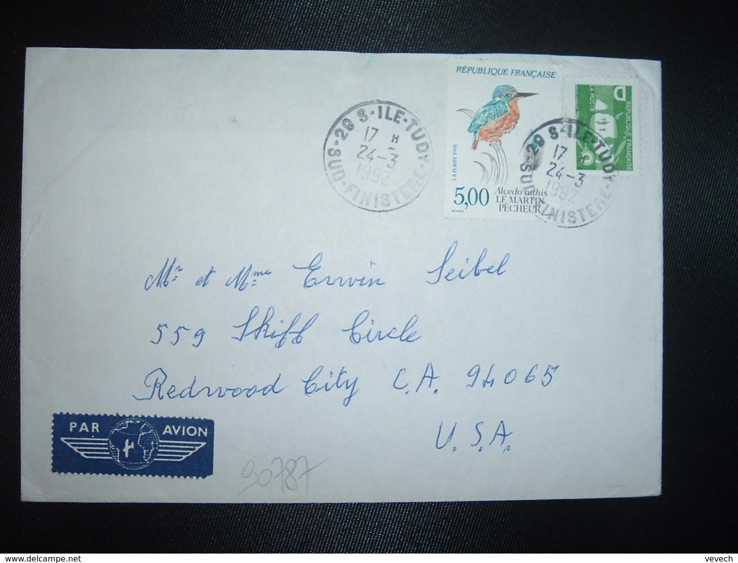 LETTRE Pour USA TP MARTIN PECHEUR 5,00 + M. DE BRIAT D VERT OBL.24-3 1992 29 S ILE TUDY SUD  FINISTERE - Marcophilie (Lettres)