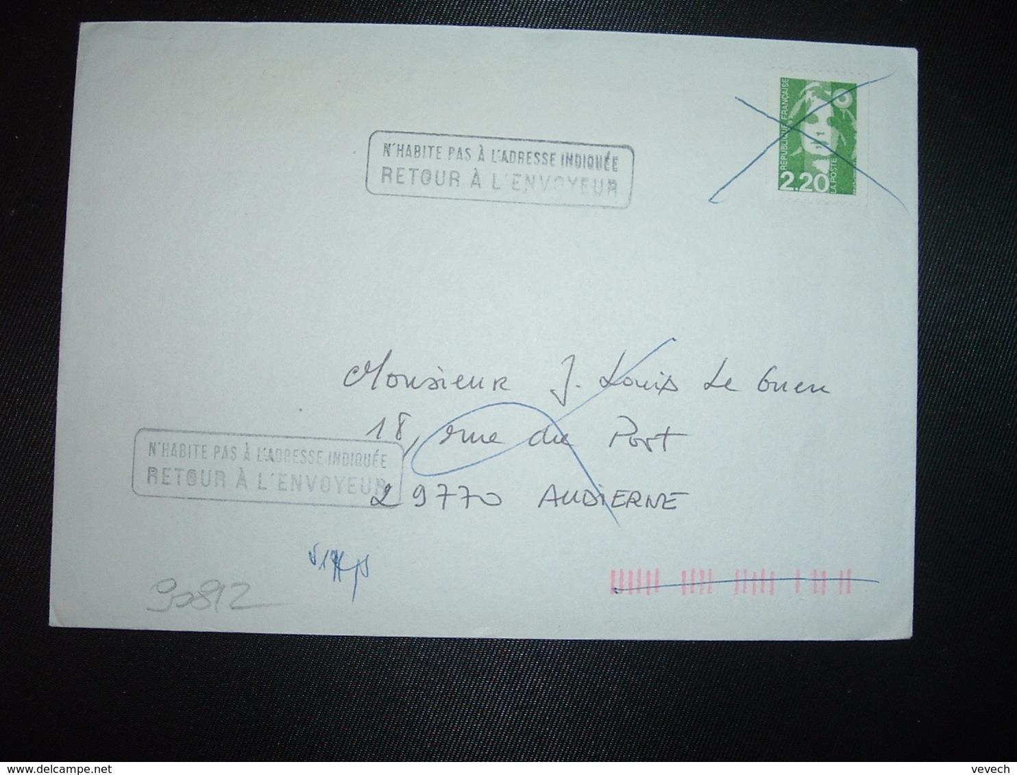 LETTRE TP M.DE BRIAT 2,20 ROULETTE Annulé + RETOUR A L'ENVOYEUR + OBL.MEC.19-3 1993 29 S AUDIERNE SUD FINISTERE - Marcophilie (Lettres)