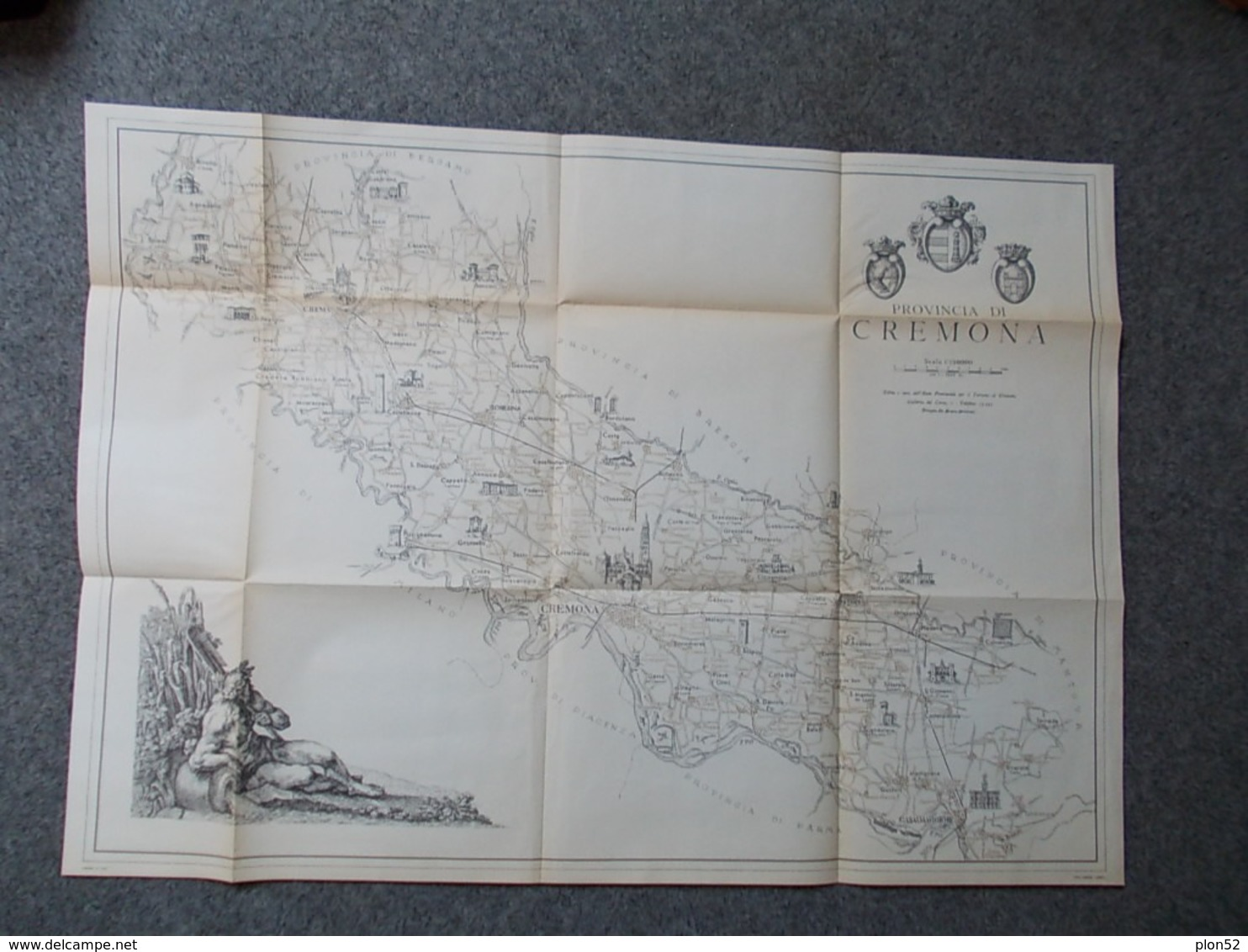 12668-CARTA GEOGRAFICA PROVINCIA DI CREMONA - SCALA 1:150.000 - Carte Geographique
