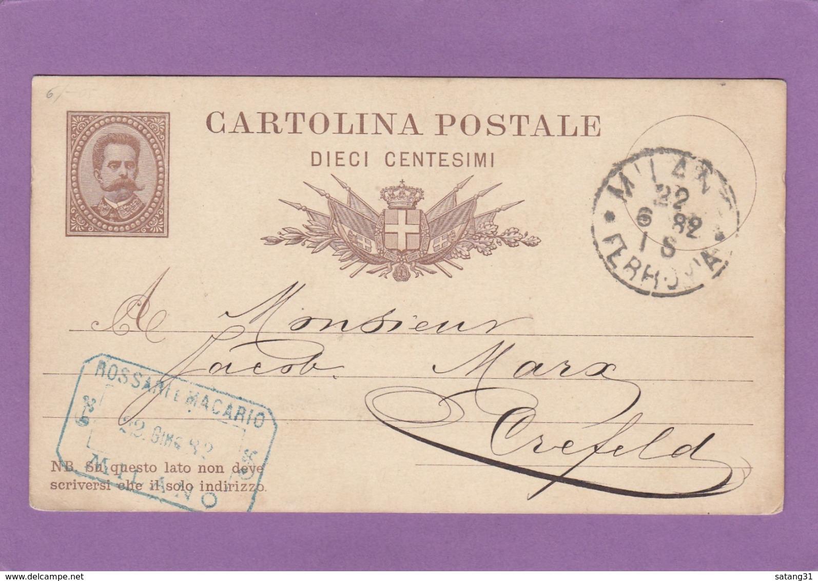 ENTIER POSTAL  DE MILANO POUR CREFELD. - 1878-00 Humbert I.