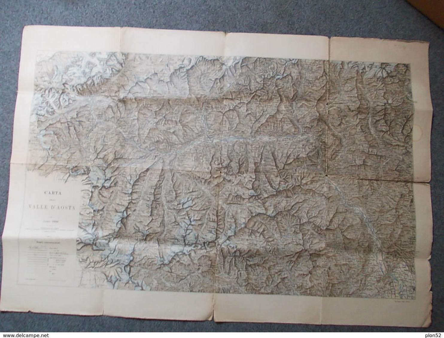 12669-CARTA GEOGRAFICA DELLA VALLE DAOSTA - 1900 - SCALA 1:100.000 - Carte Geographique