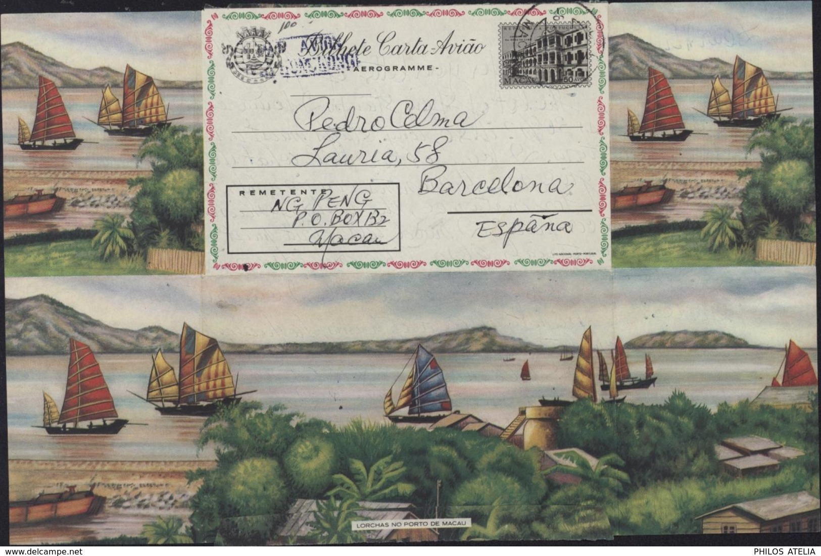Entier 50 Avos Aérogramme Bilhete Carta Aviao Macau Republica Portuguesa Illustrébaie Jonques Bateaux Lorchas No Porto - Macao