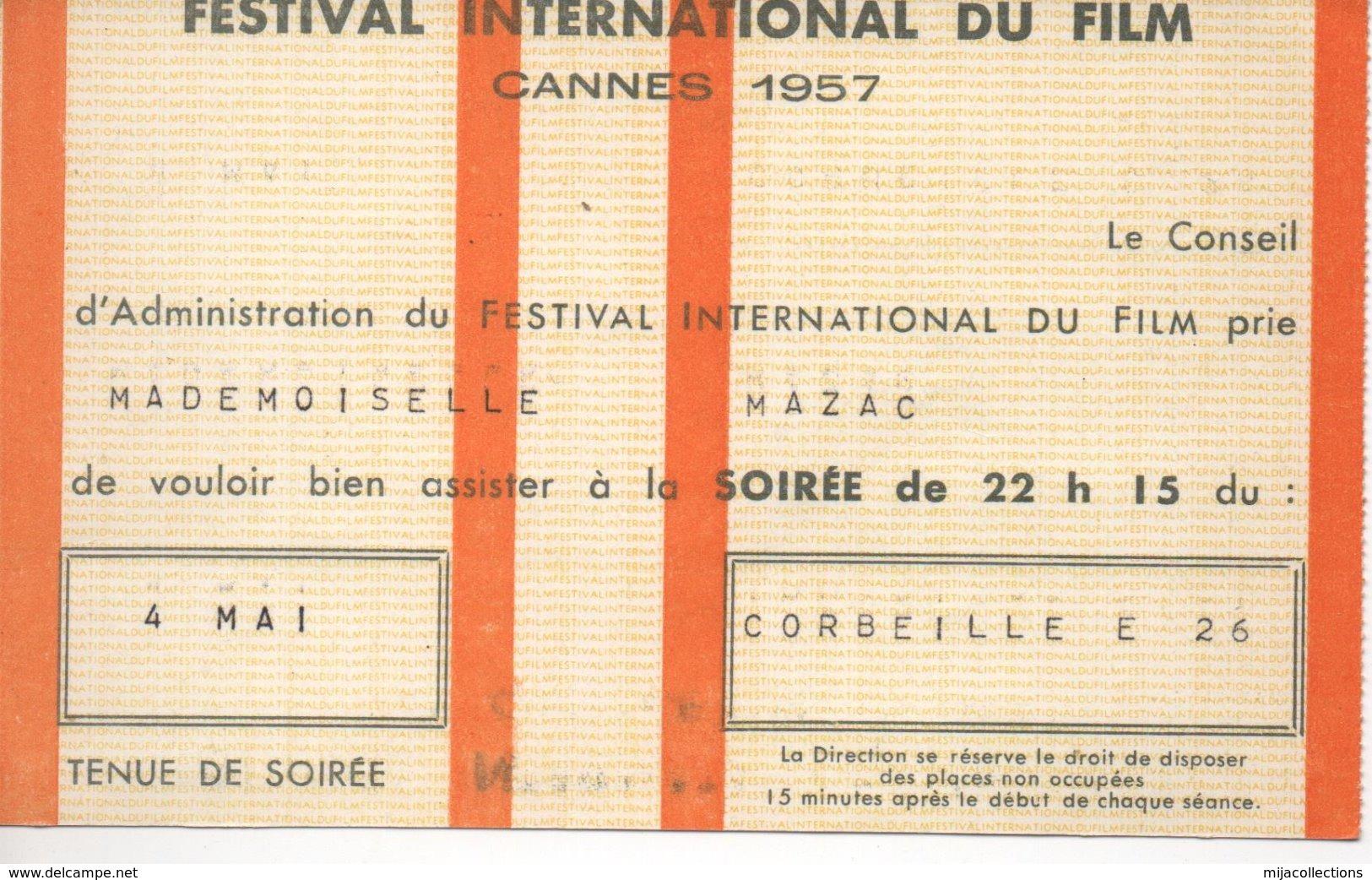 """Invitation  FESTIVAL INTERNATIONAL DU FILM 1957 CANNES-"""" Soirée - Tickets - Vouchers"""