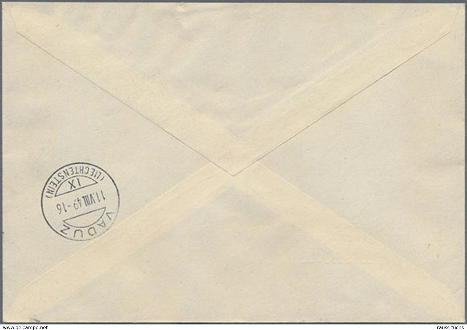 1949,Gemälde-Block Auf Portorichtigem R-Dringlich-Brief Mit Tagesstempel (selten) Von Schaan Nach Vaduz, Mi. 240.- - Liechtenstein