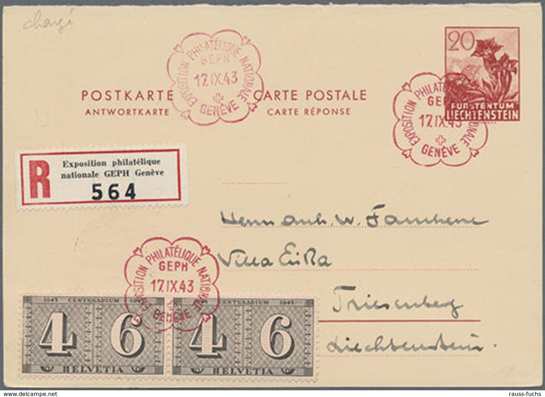 1943, 20 Rp. Enzian Antwortteil, Mit CH-ZuF Als R-Karte Mit GEPH-Ausstellungs-SST Und Sonder-R-Zettel Nach Triesenberg - Non Classificati