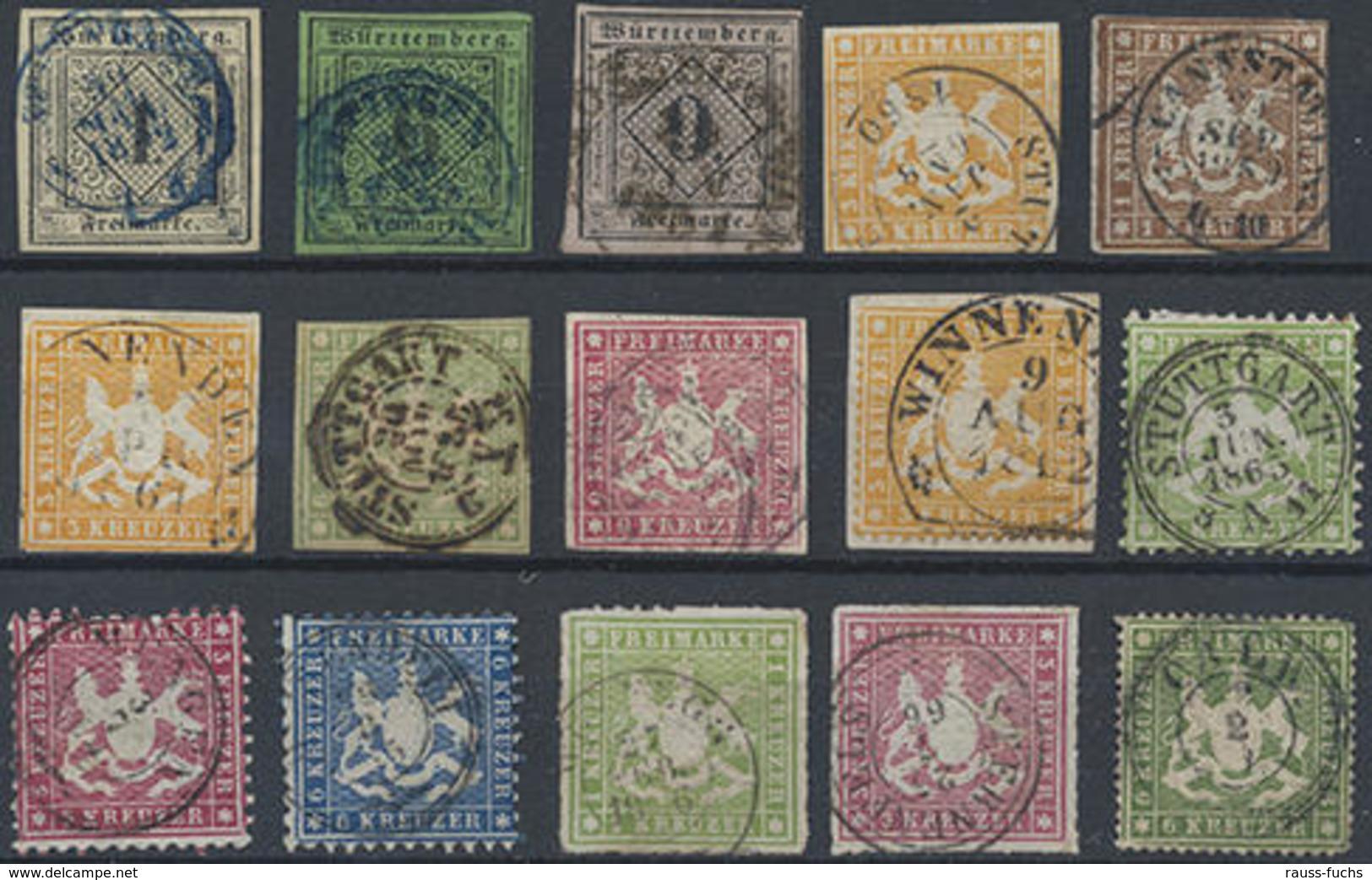 1851-74, Lot Mit 23 Verschiedenen Werten Meist Pra.stücke, Mi. 950.- - Wurtemberg