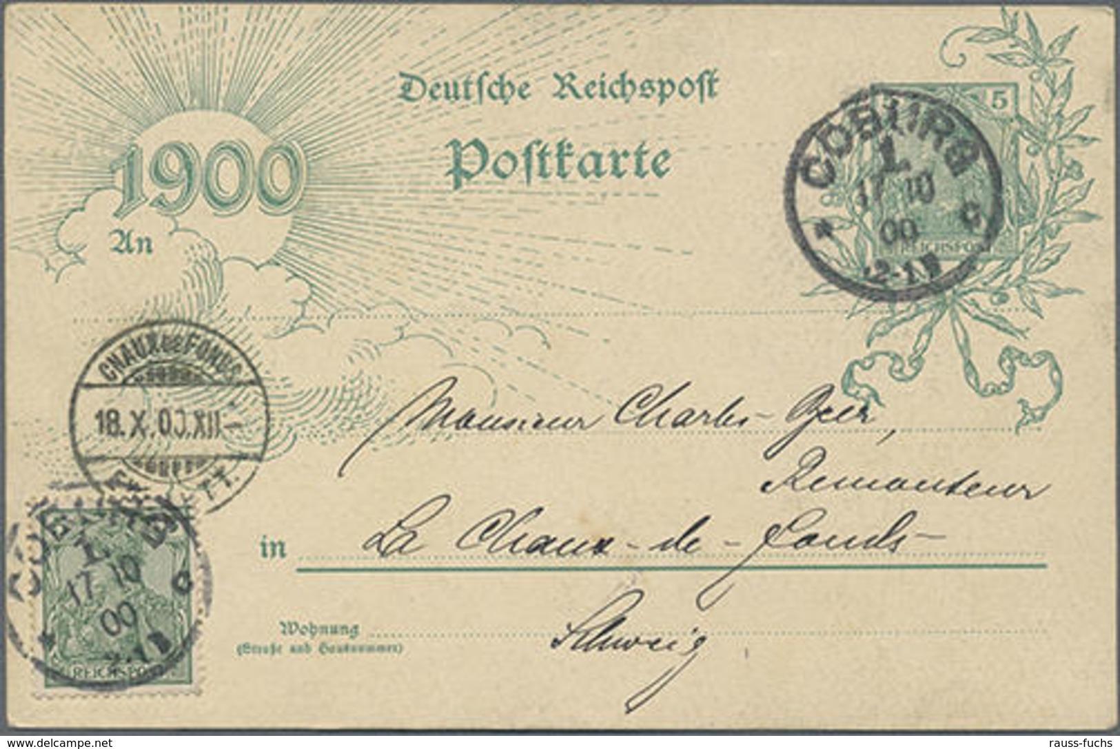 """1900, 5 Pf. Germania Jahrhunderwertstempel Mit Bild Coburg Veste Von Der Ostseite"""" Mit 5 Pf. Germania Als ZuF Von Coburg - Duitsland"""
