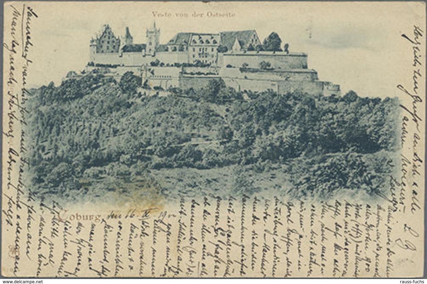"""1900, 5 Pf. Germania Jahrhunderwertstempel Mit Bild Coburg Veste Von Der Ostseite"""" Mit 5 Pf. Germania Als ZuF Von Coburg - Unclassified"""