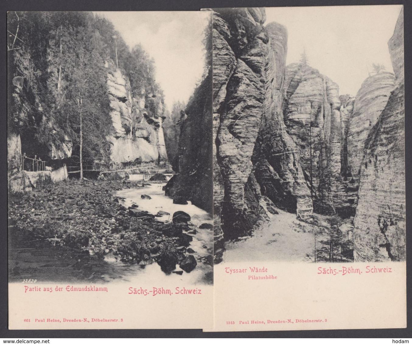 """""""Edmundsklamm"""",""""Tyssaer Wände"""", Sächs. Schweiz, 2 Versch. Karten, Ca. 1910 - Deutschland"""