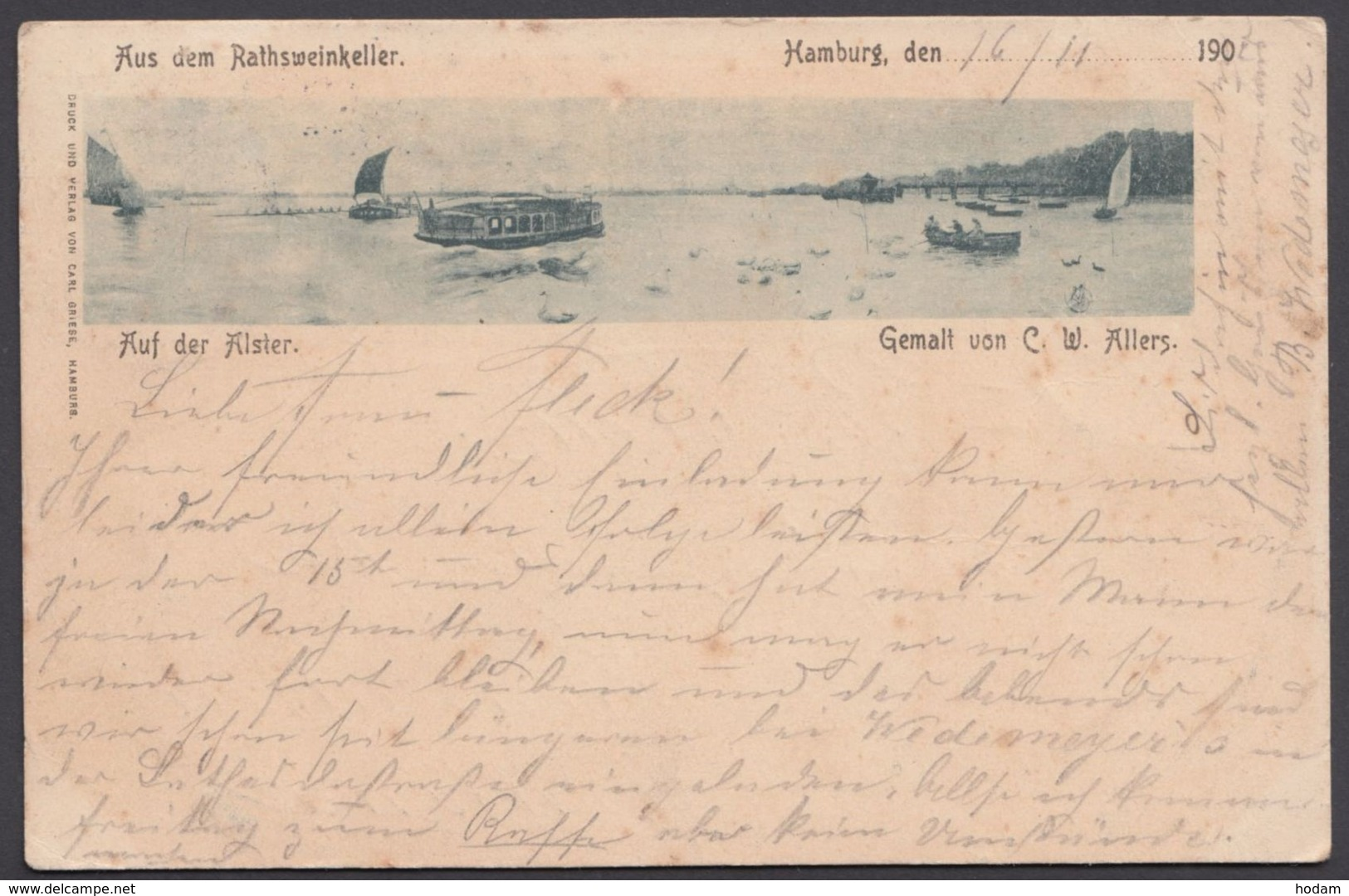 """""""Hamburg"""", Alster, 1902 Gelaufen - Mitte"""