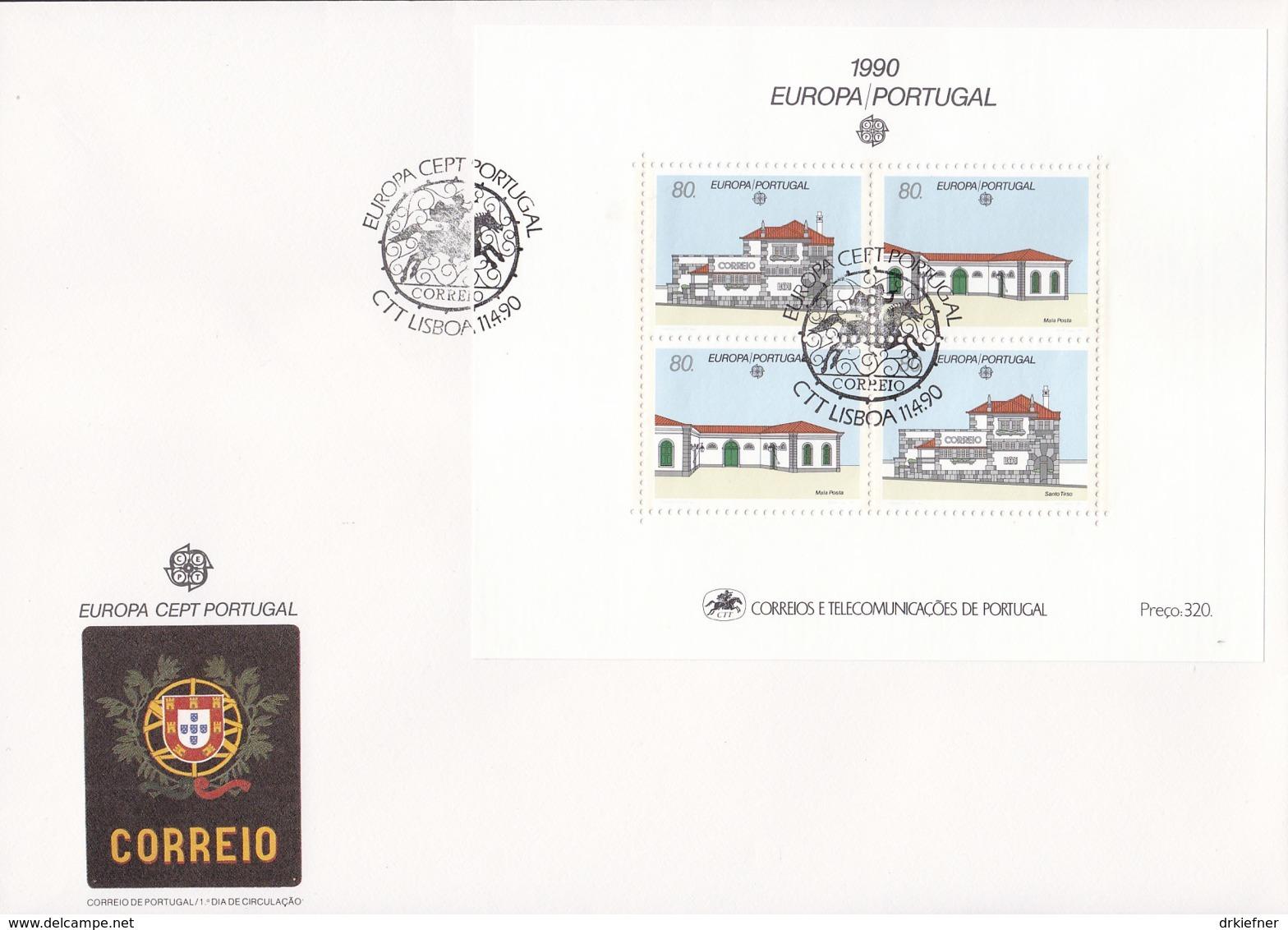 PORTUGAL Block 71 FDC, EUROPA CEPT 1990, Postalische Einrichtungen - 1990