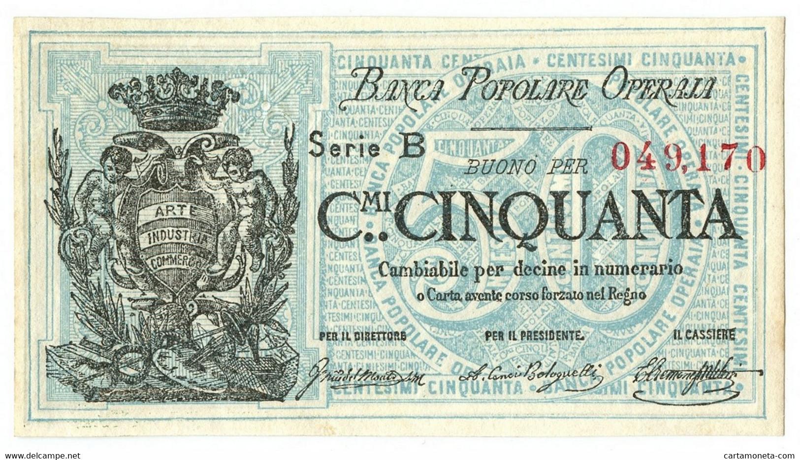 50 CENTESIMI BIGLIETTO FIDUCIARIO BANCA POPOLARE OPERAIA DI ROMA 1872 SUP- - Altri
