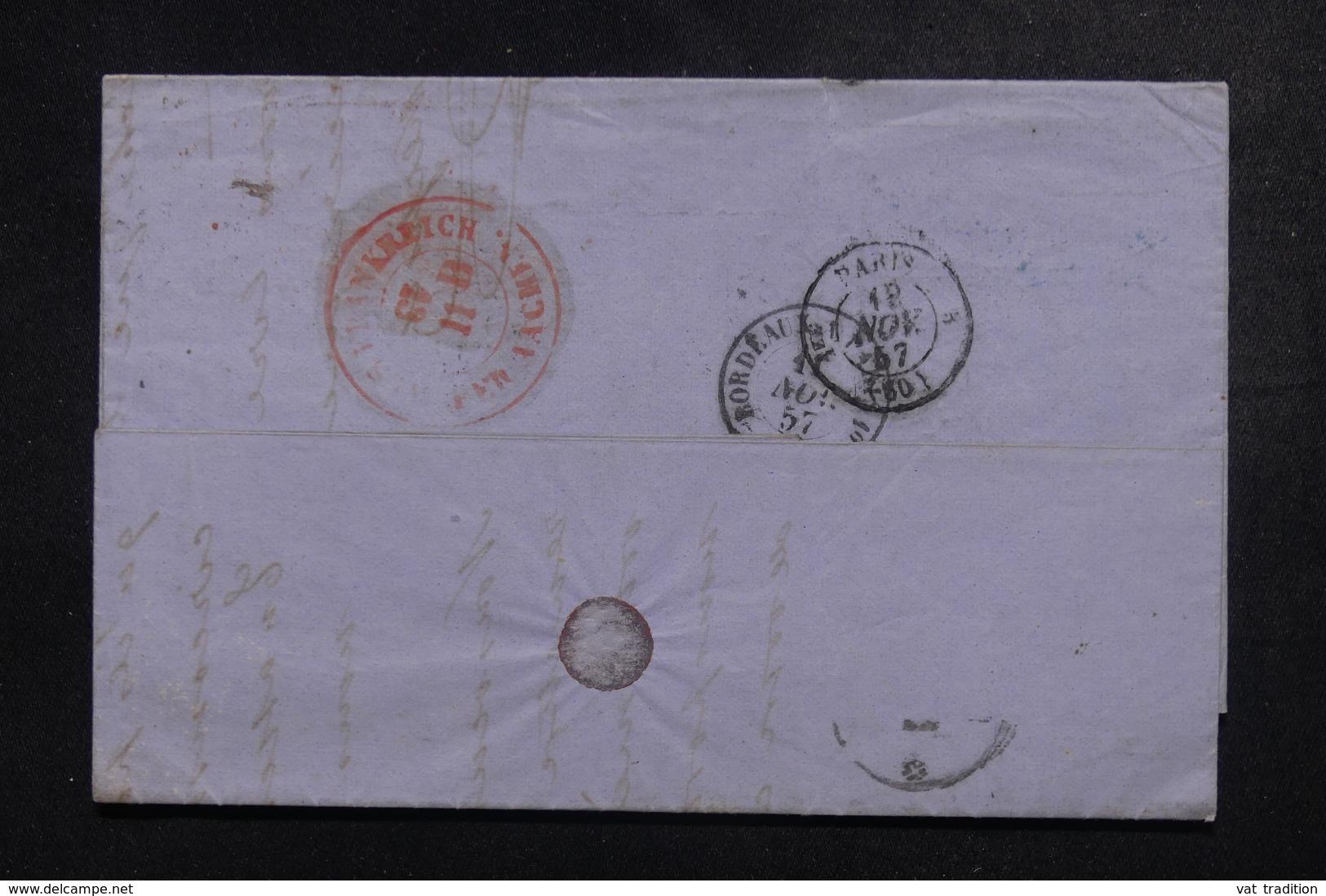 FRANCE - Lettre De Bordeaux Pour Aix La Chapelle En 1857, Cachet En Rouge D'entrée De Aachen Au Verso - L 44346 - Marcofilia (sobres)