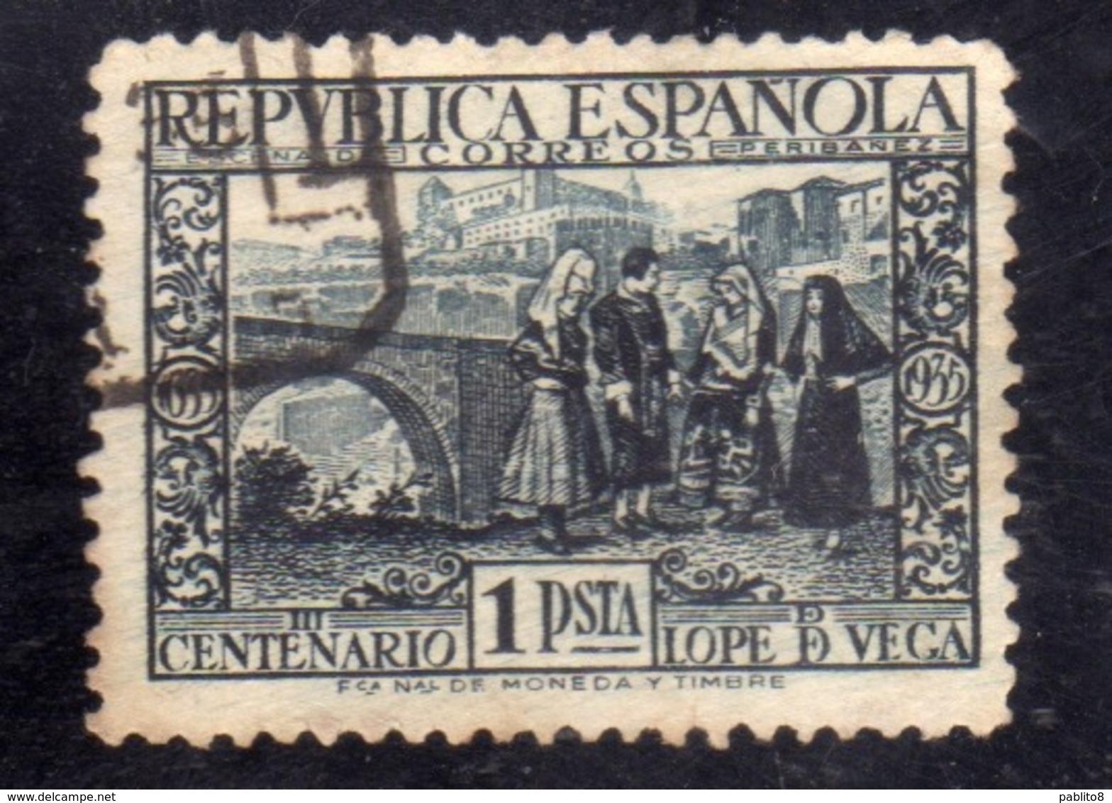 SPAIN ESPAÑA SPAGNA 1935 ALCANTARA  ALCAZAR TOLEDO PESETA 1p USED USATO OBLITERE' - 1931-Aujourd'hui: II. République - ....Juan Carlos I