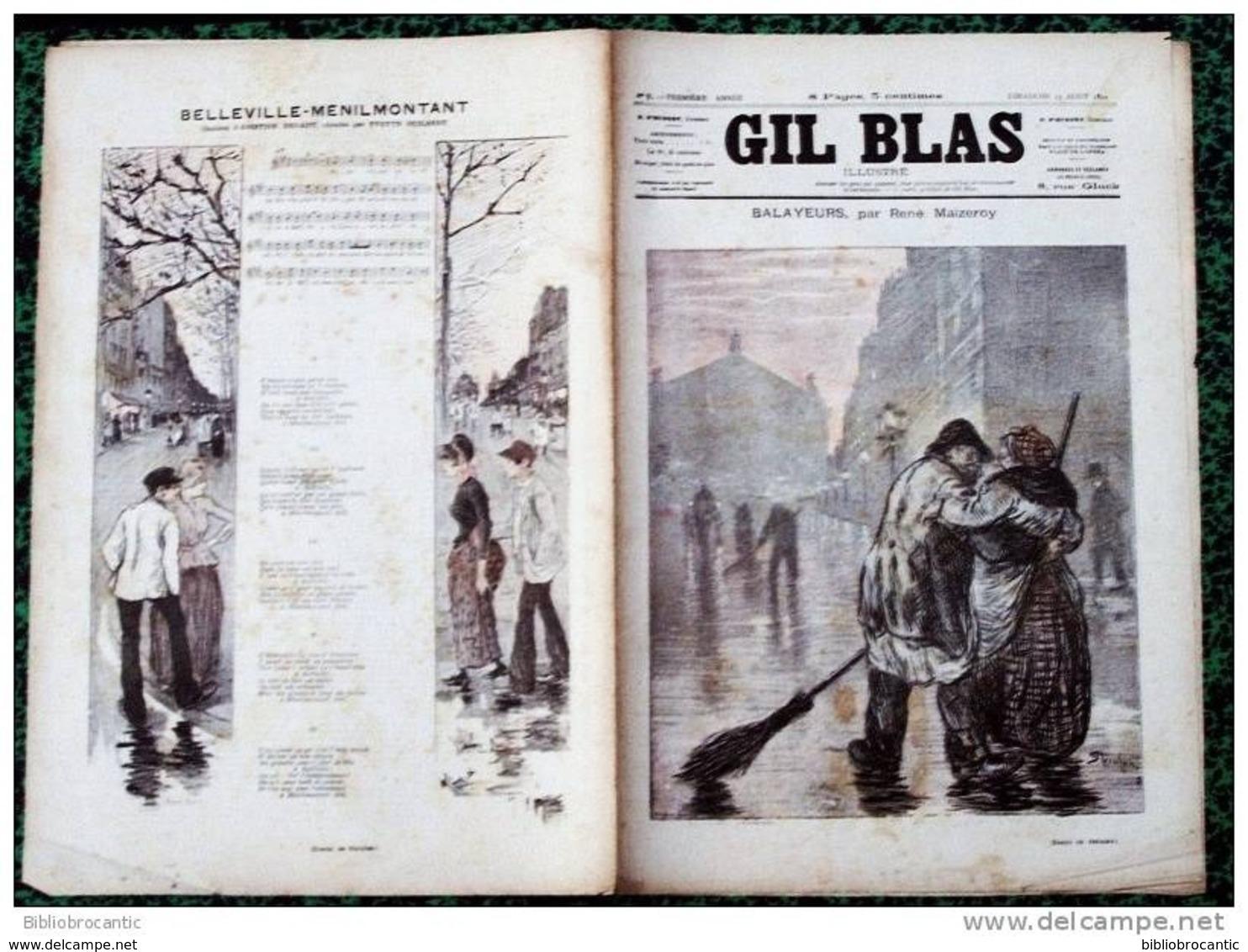 *GIL BLAS Illustré* N°9-23/08/1891 -BALAYEURS P/MAIZEROY +CHANS.BELLEVILLE-MENILMONTANT /A. BRUANT - Books, Magazines, Comics