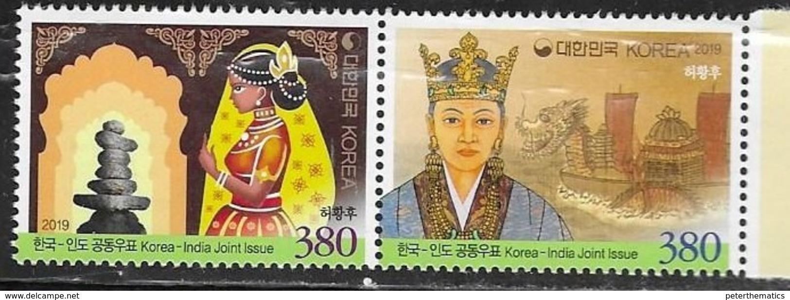 SOUTH KOREA, 2019, MNH, JOINT ISSUE WITH INDIA, SHIPS, 2v - Gezamelijke Uitgaven