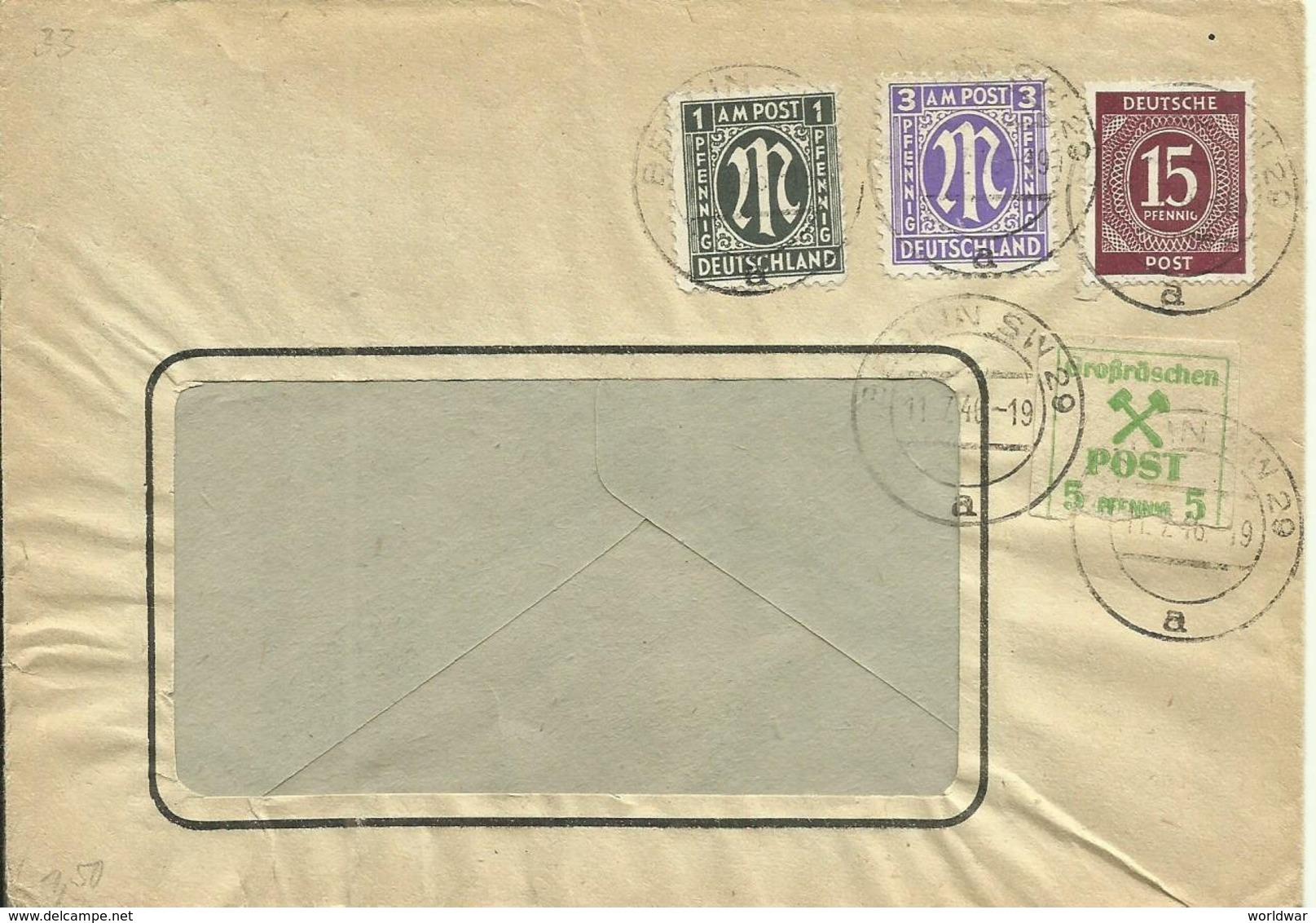1946  Fensterbrief Von Berlin SW Mit U.a. 5 Pf Grossräschen - Gemeinschaftsausgaben