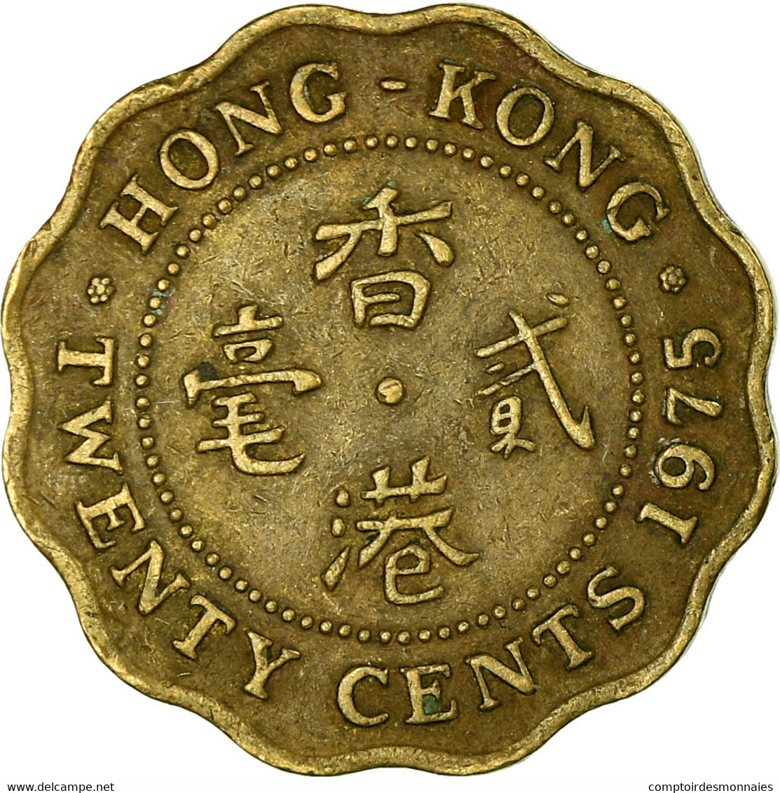 Monnaie, Hong Kong, Elizabeth II, 20 Cents, 1975, TB+, Nickel-brass, KM:36 - Hong Kong