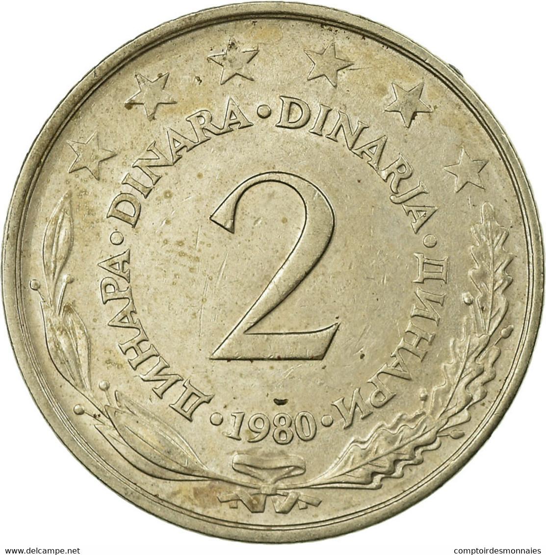 Monnaie, Yougoslavie, 2 Dinara, 1980, TB+, Copper-Nickel-Zinc, KM:57 - Joegoslavië