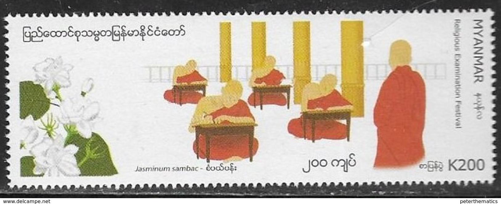 MYANMAR, 2019, MNH, FESTIVALS, RELIGIOUS EXAMINATION  FESTIVAL, FLOWERS, JASMINE,  1v - Celebrations