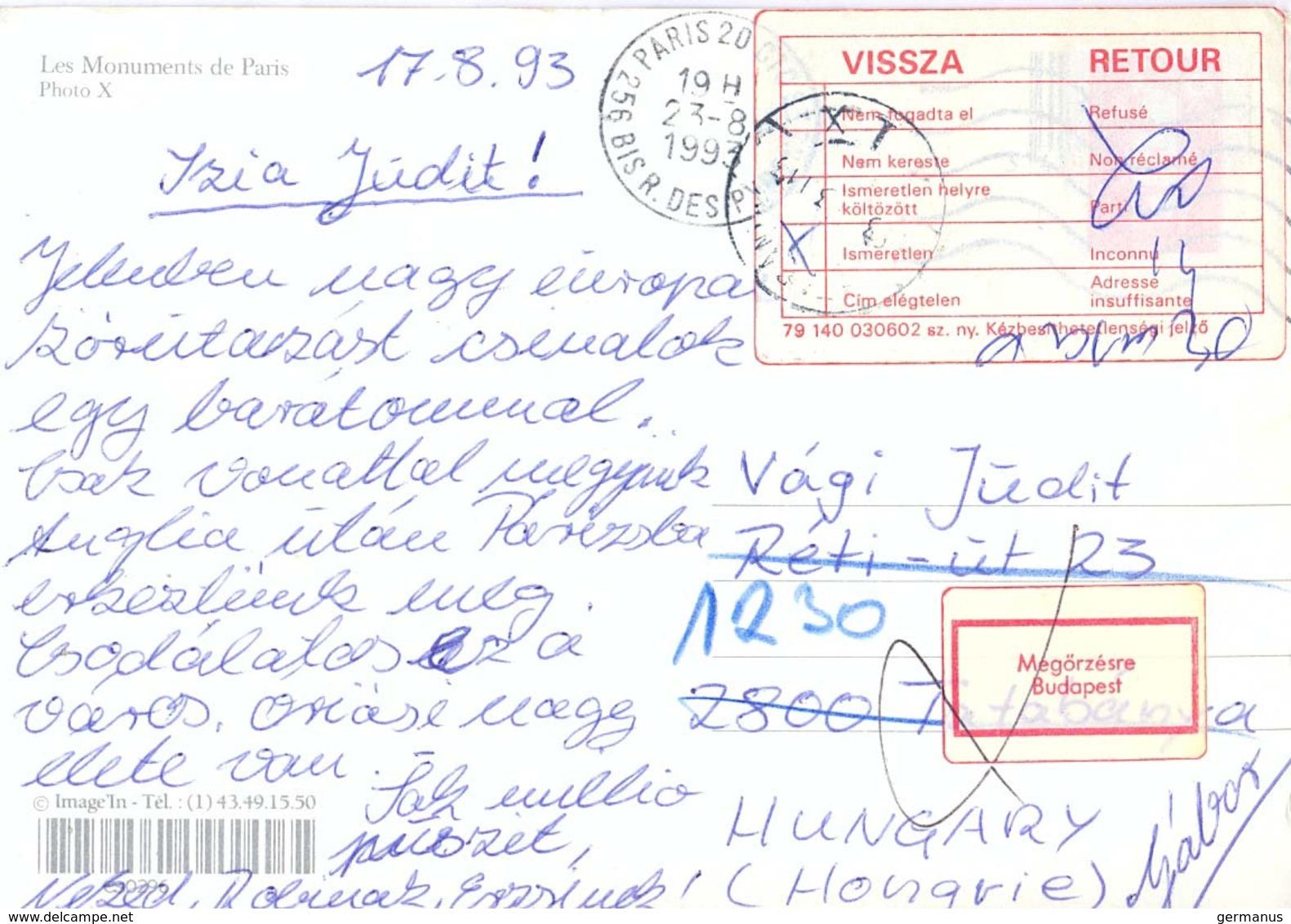 CP OMec SECAP PARIS 20 Du 23-8-1993 Pour Tatabánya HONGRIE - VIGNETTE VISSZA / RETOUR + VIGNETTE Megőrzésre / Budapest - Marcofilie (Brieven)