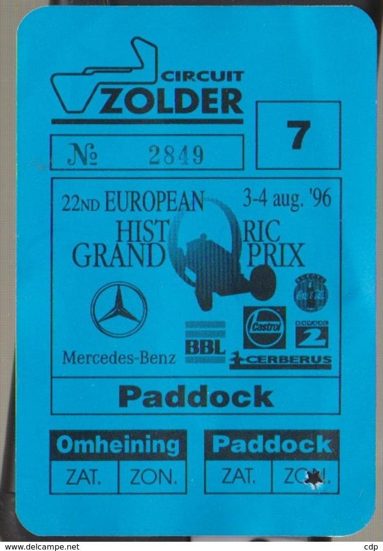 Circuit De Zolder  1996 - Tickets - Vouchers